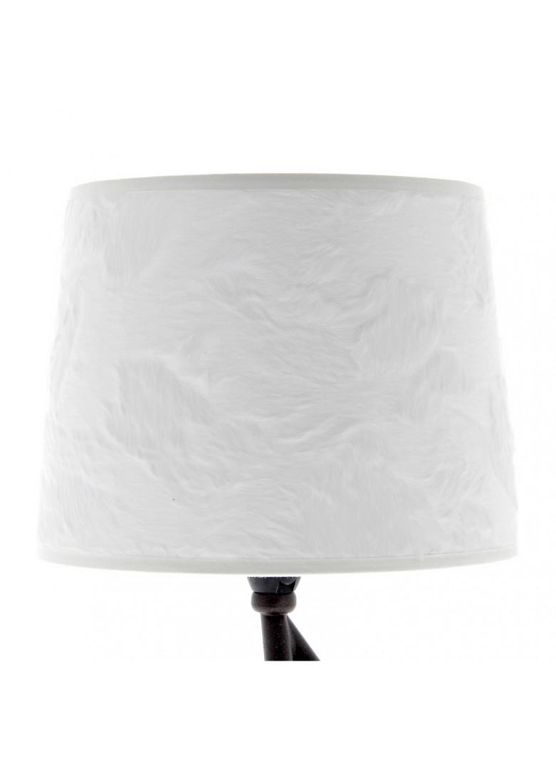 Abat-jour cylindrique fourrure blanche relief poil ras D20cm