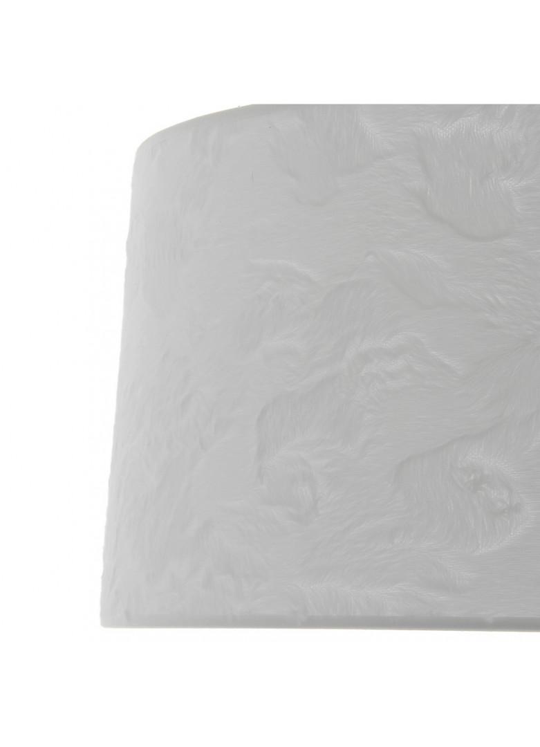 Abat-jour cylindrique fourrure blanche relief poil ras D40cm