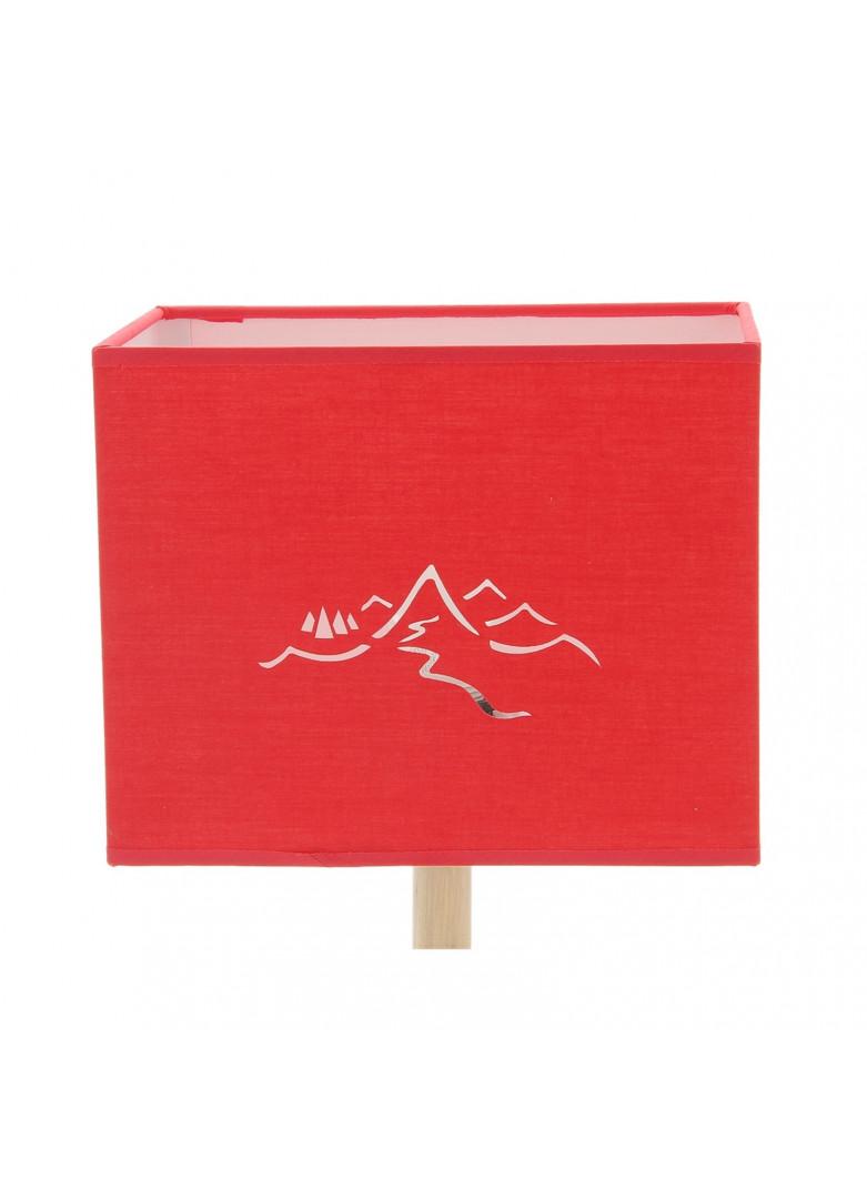 Abat-jour rectangulaire montagne en micro-découpe rouge L20cm