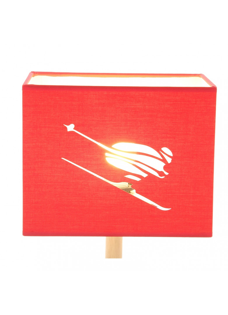 Abat-jour rectangulaire skieur en micro-découpe rouge L20cm