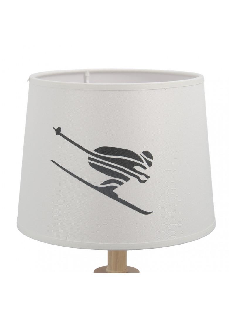 Abat-jour cylindrique de skieur en impression blanche D20cm