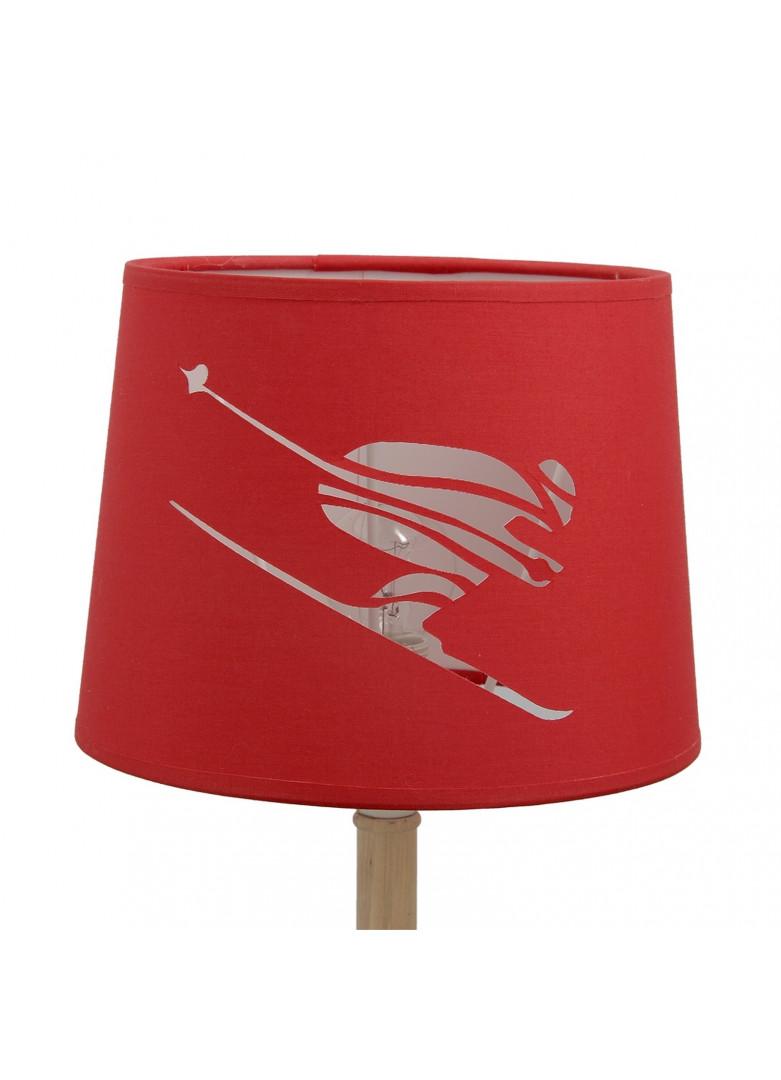 Abat-jour cylindrique skieur en micro-découpe rouge D20cm