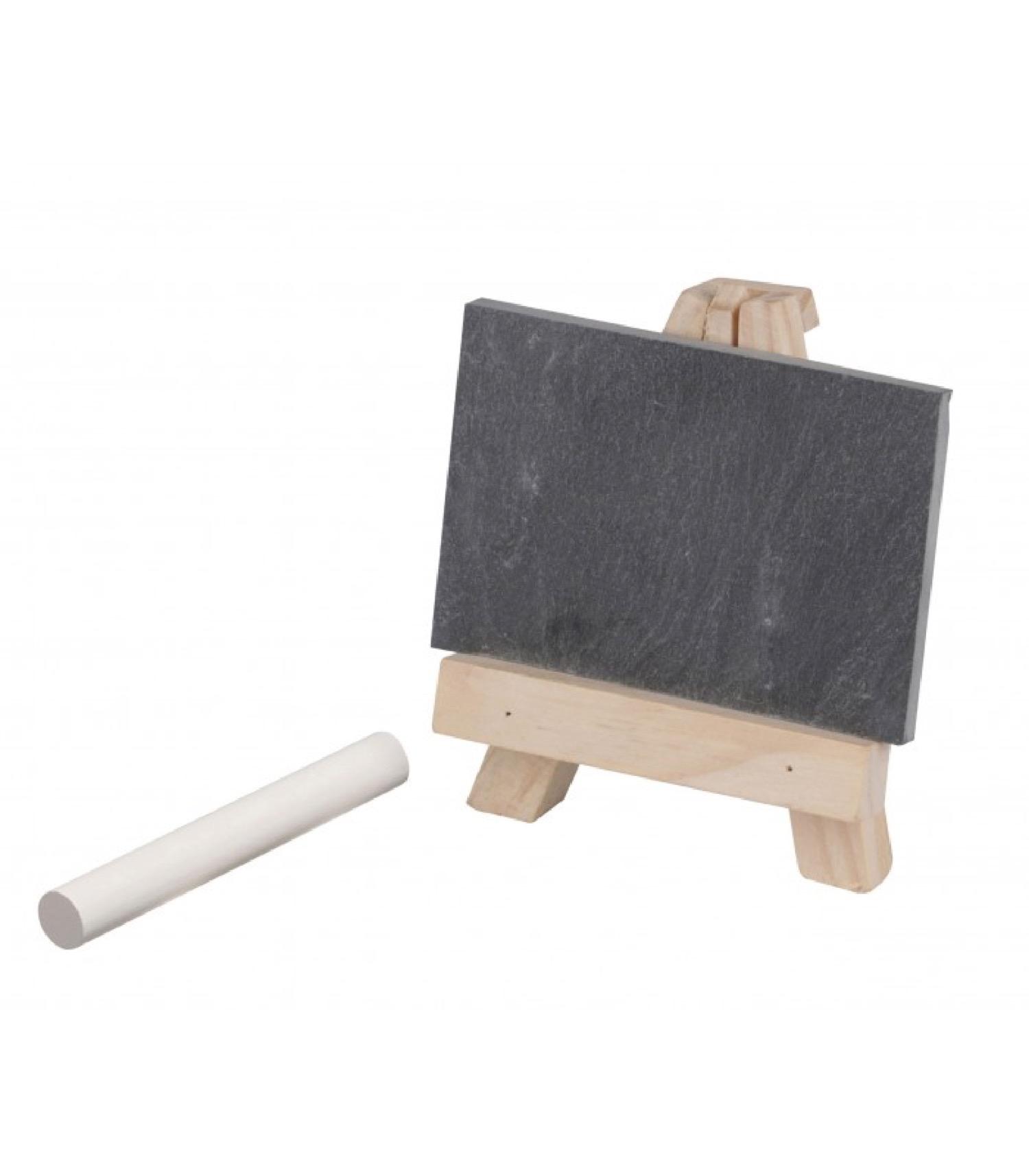 Ardoise de table avec chevalet bois + craie - Lot de 4