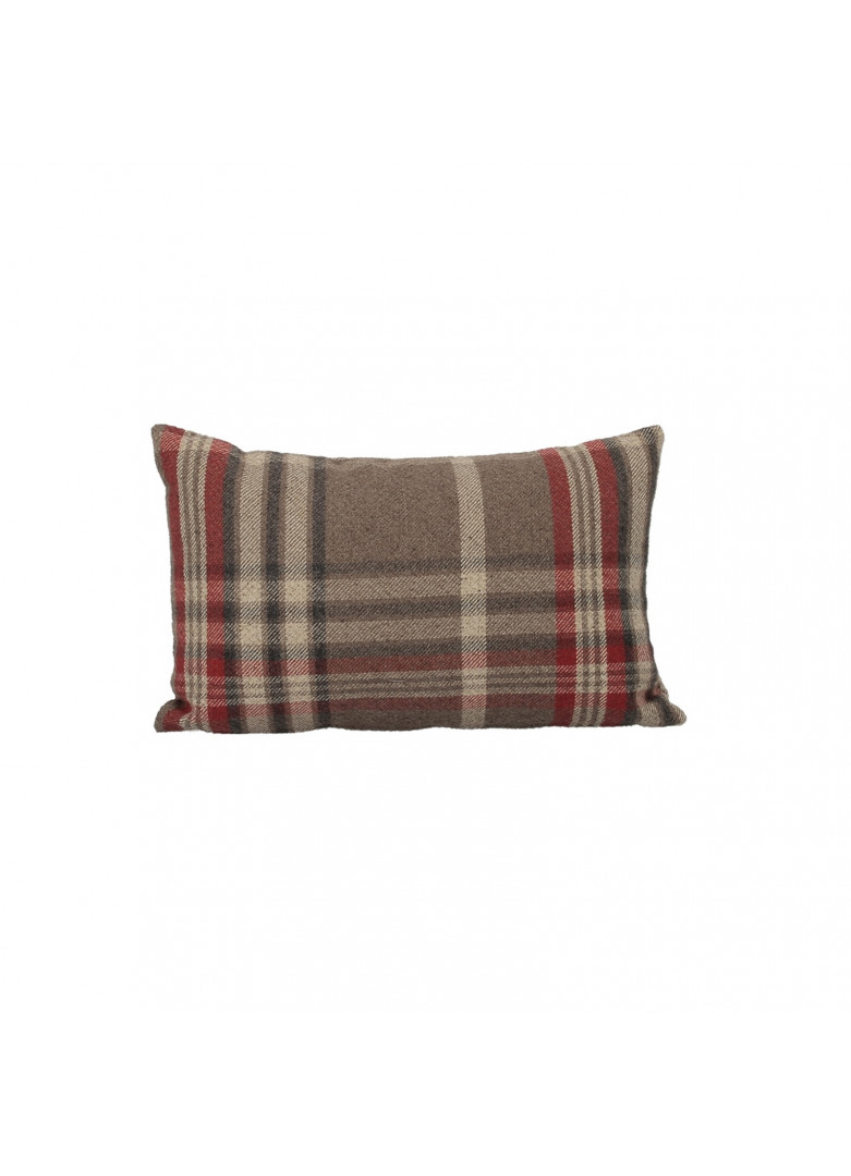 Housse coussin écossais rectangulaire rouge 50x30