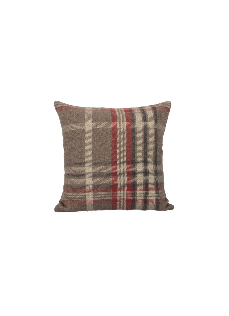Housse coussin écossais rouge carré 40x40