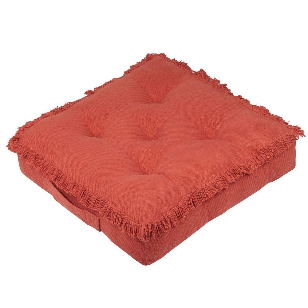 Coussin de sol en coton terracotta 45x45