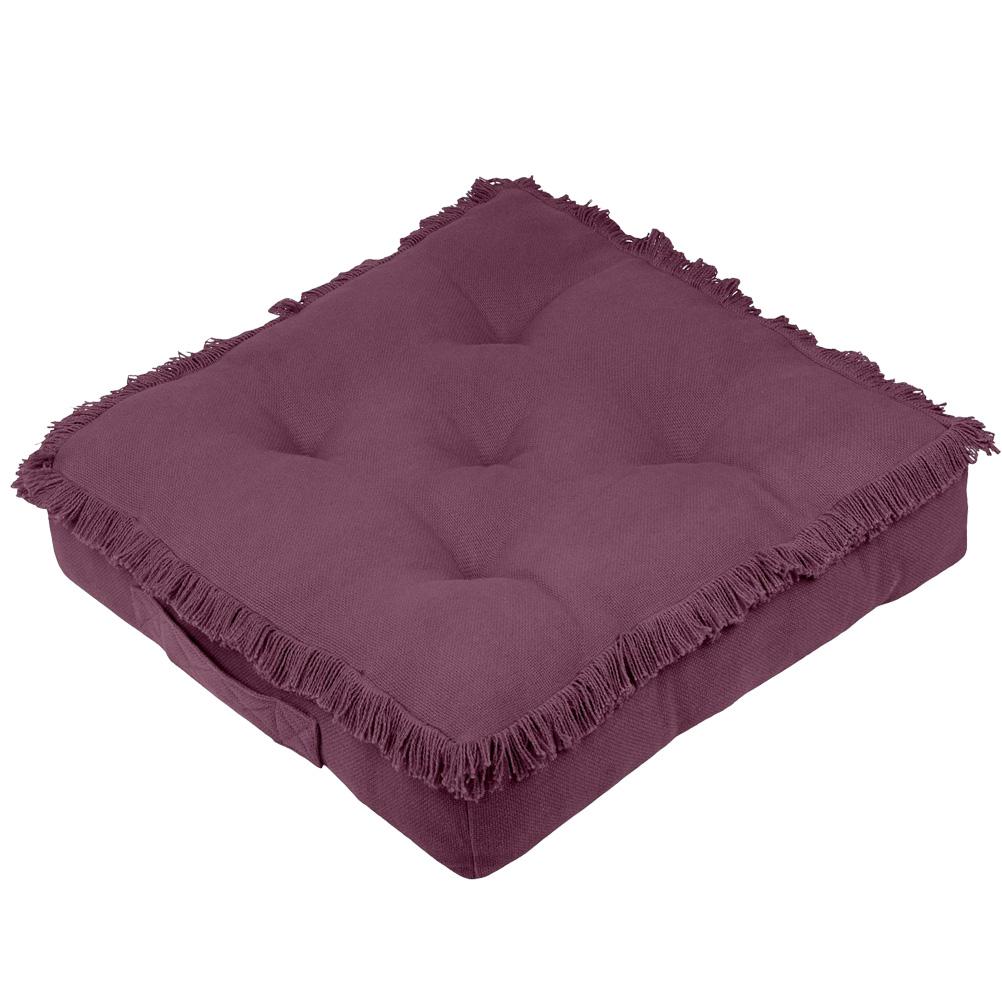 Coussin de sol en coton cassis 45x45