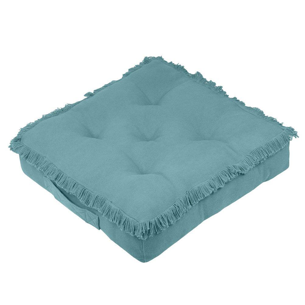 Coussin de sol en coton bleu 45x45
