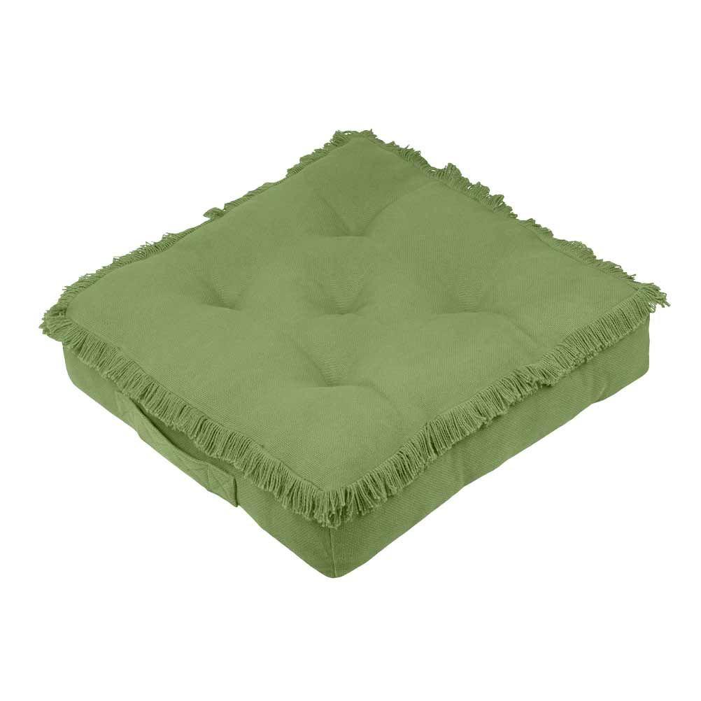 Coussin de sol en coton vert 45x45
