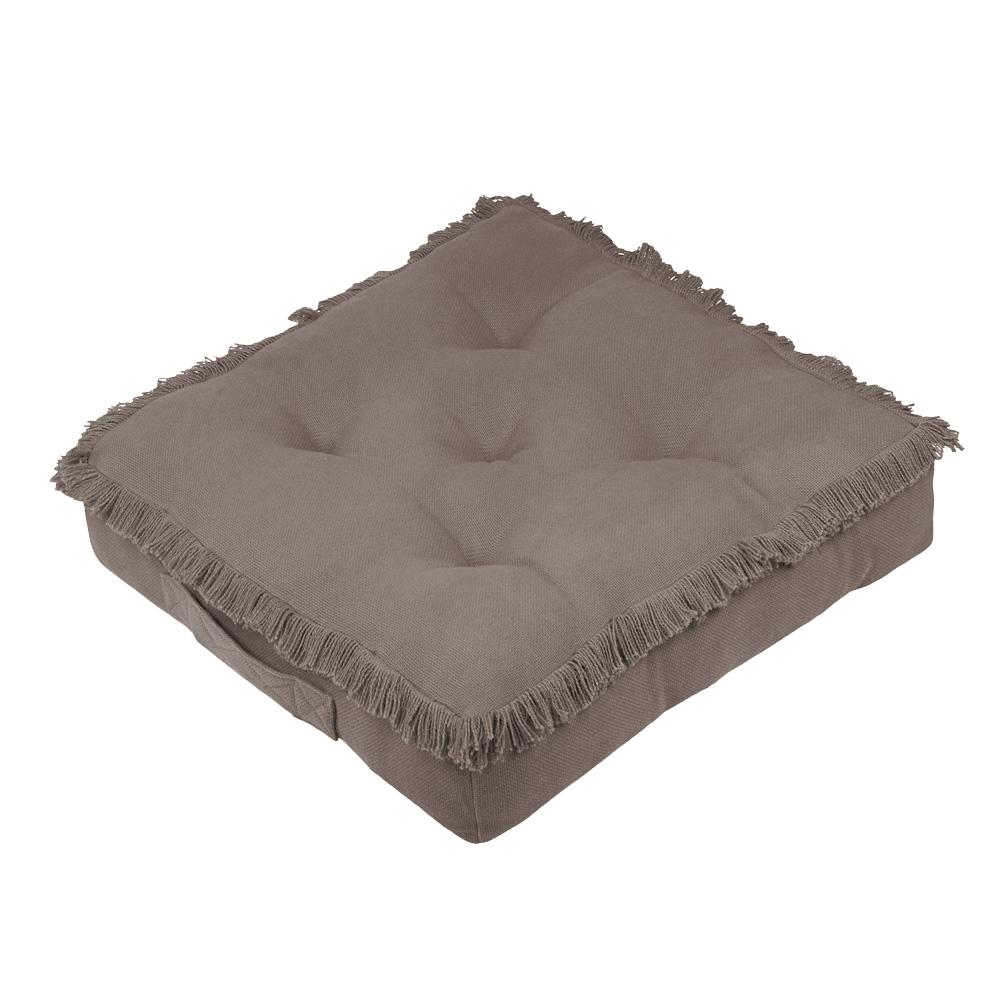 Coussin de sol en coton taupe 45x45