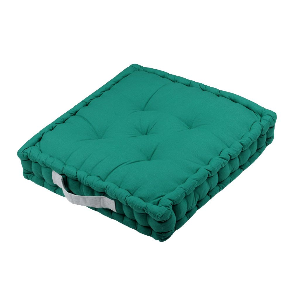 Coussin de sol en coton vert émeraude 45x45