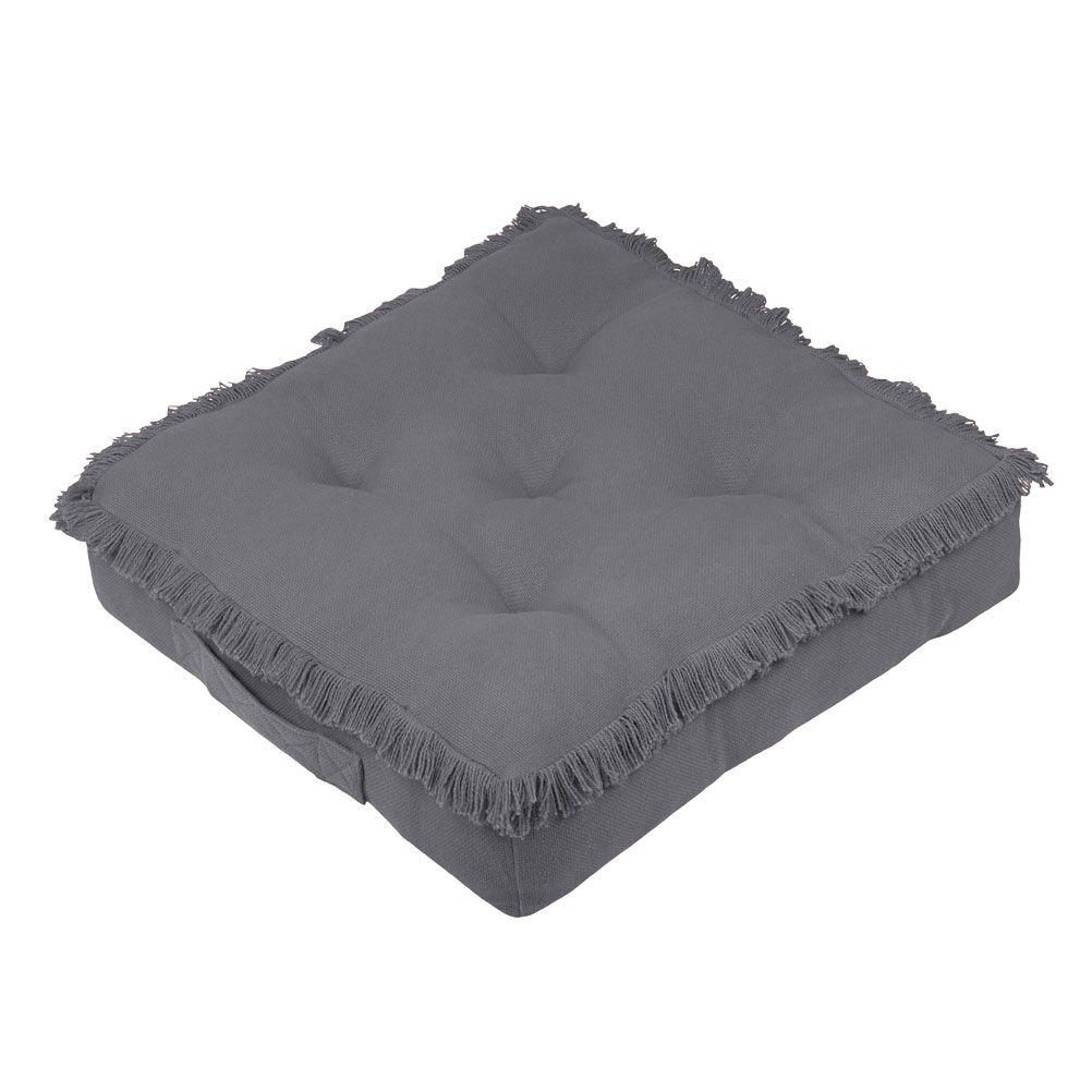 Coussin de sol en coton gris 45x45
