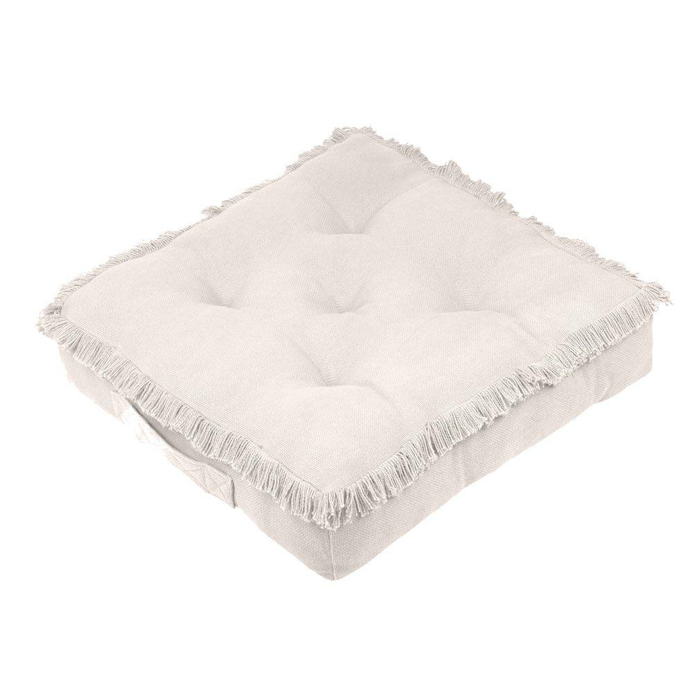 Coussin de sol en coton beige 45x45