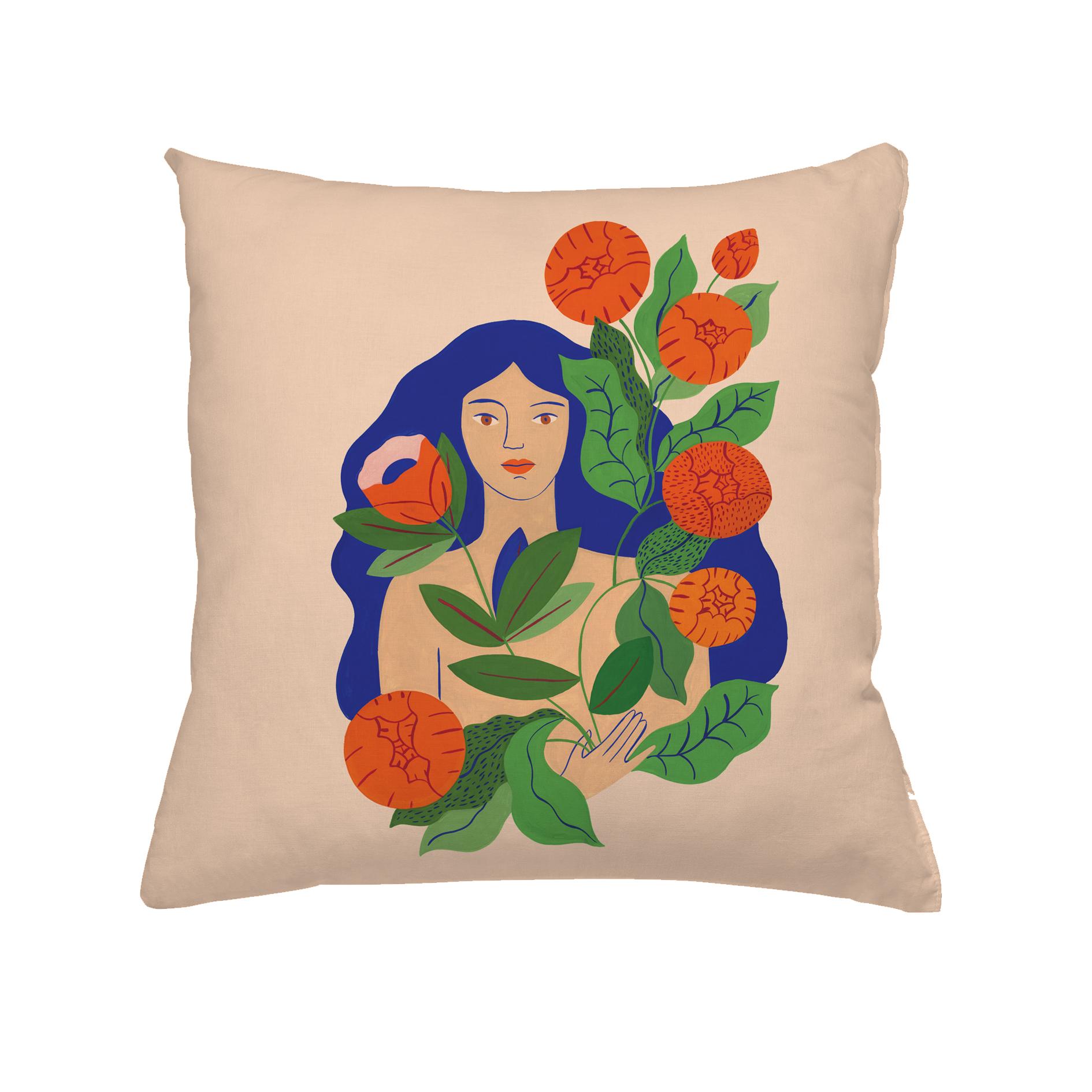 Coussin en coton femme bouquet 60x60 cm