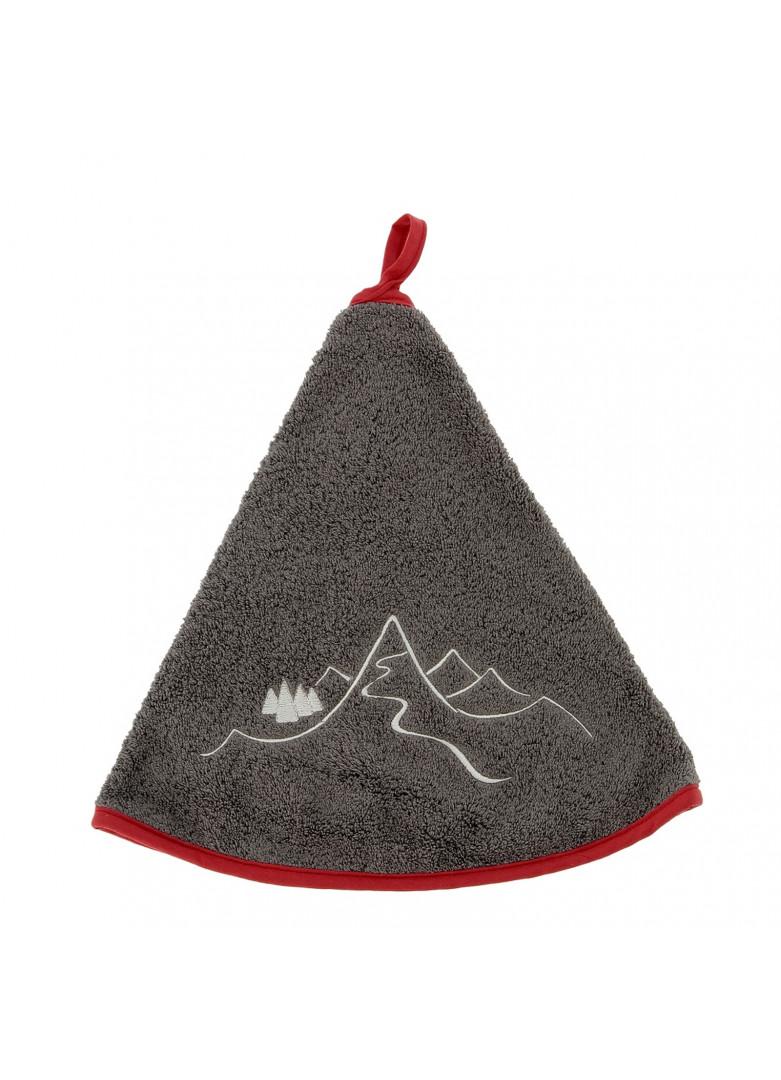 Torchon demi-lune en coton gris 70cm