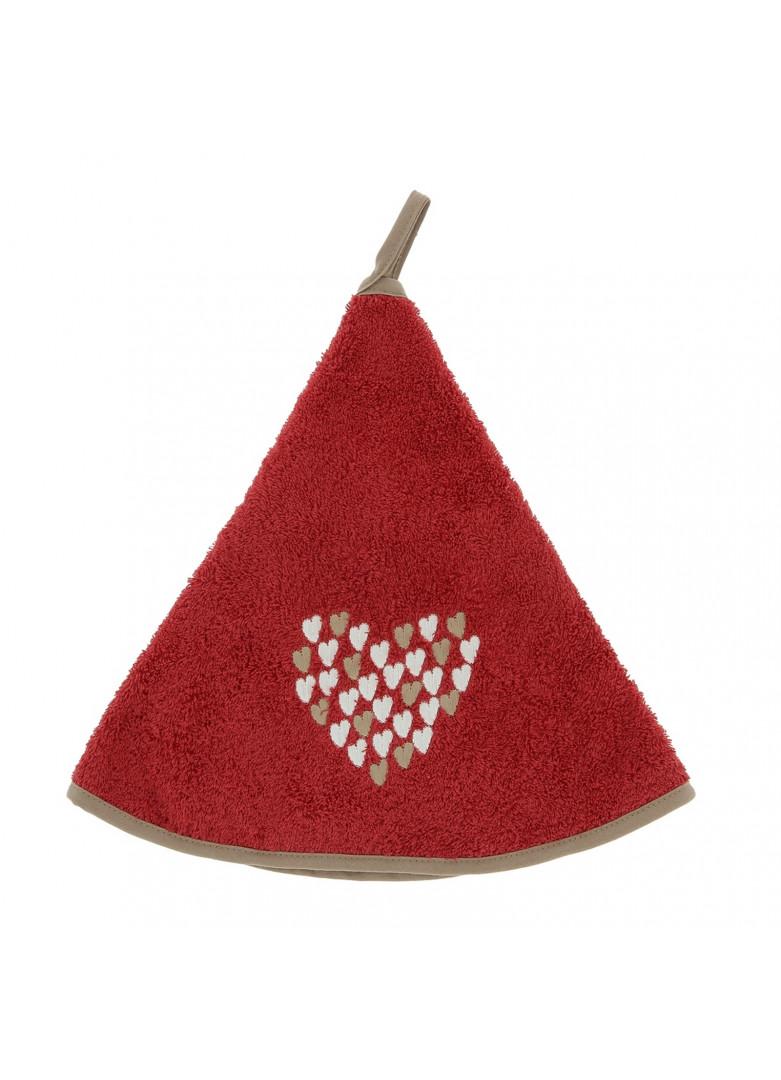 Torchon demi-lune new coeur rouge 70cm