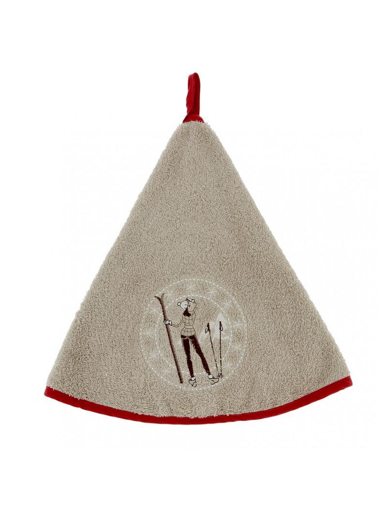 Torchon demi-lune en coton taupe 70cm