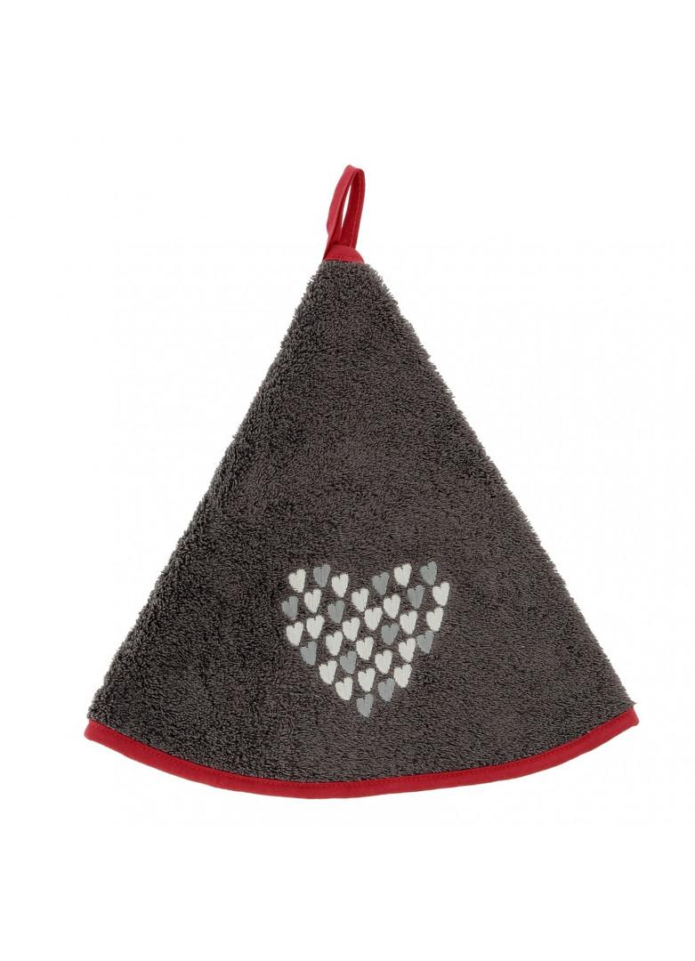 Torchon demi-lune new coeur gris 70cm