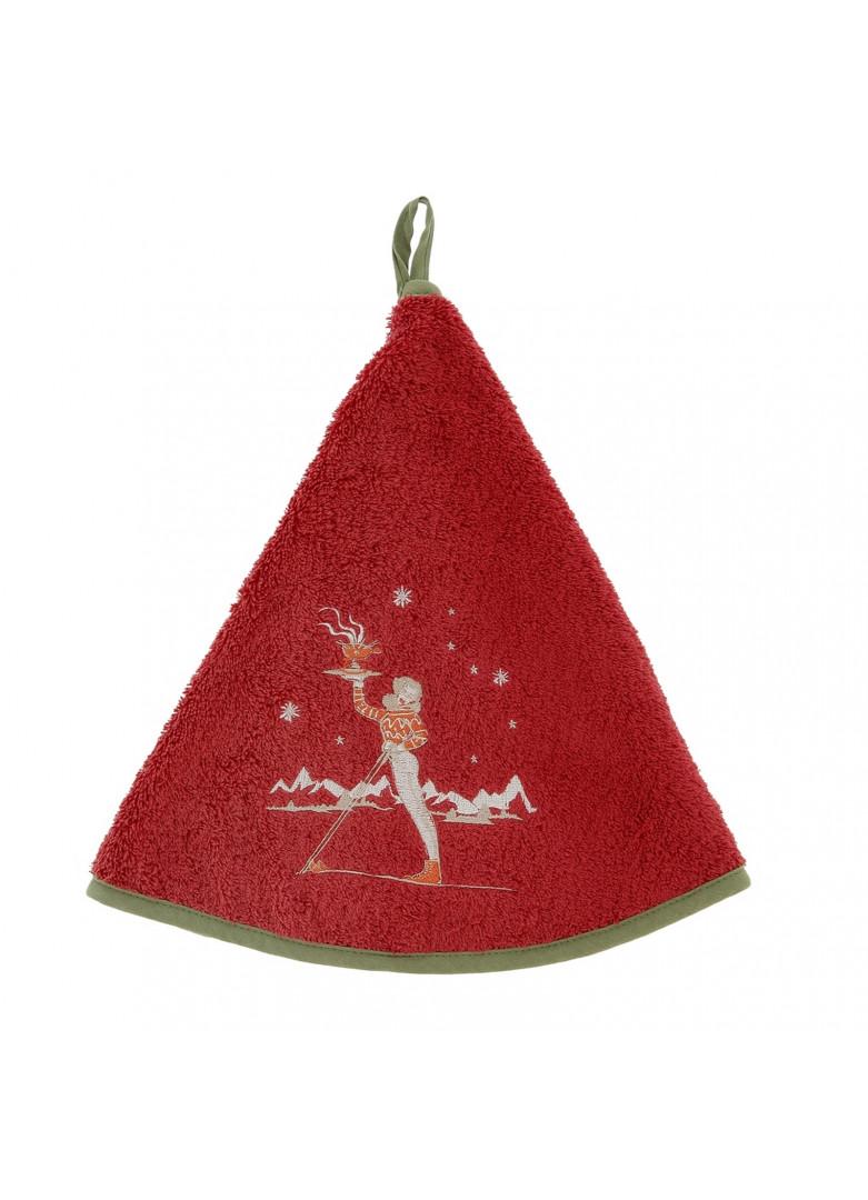 Torchon demi-lune en coton rouge 70cm