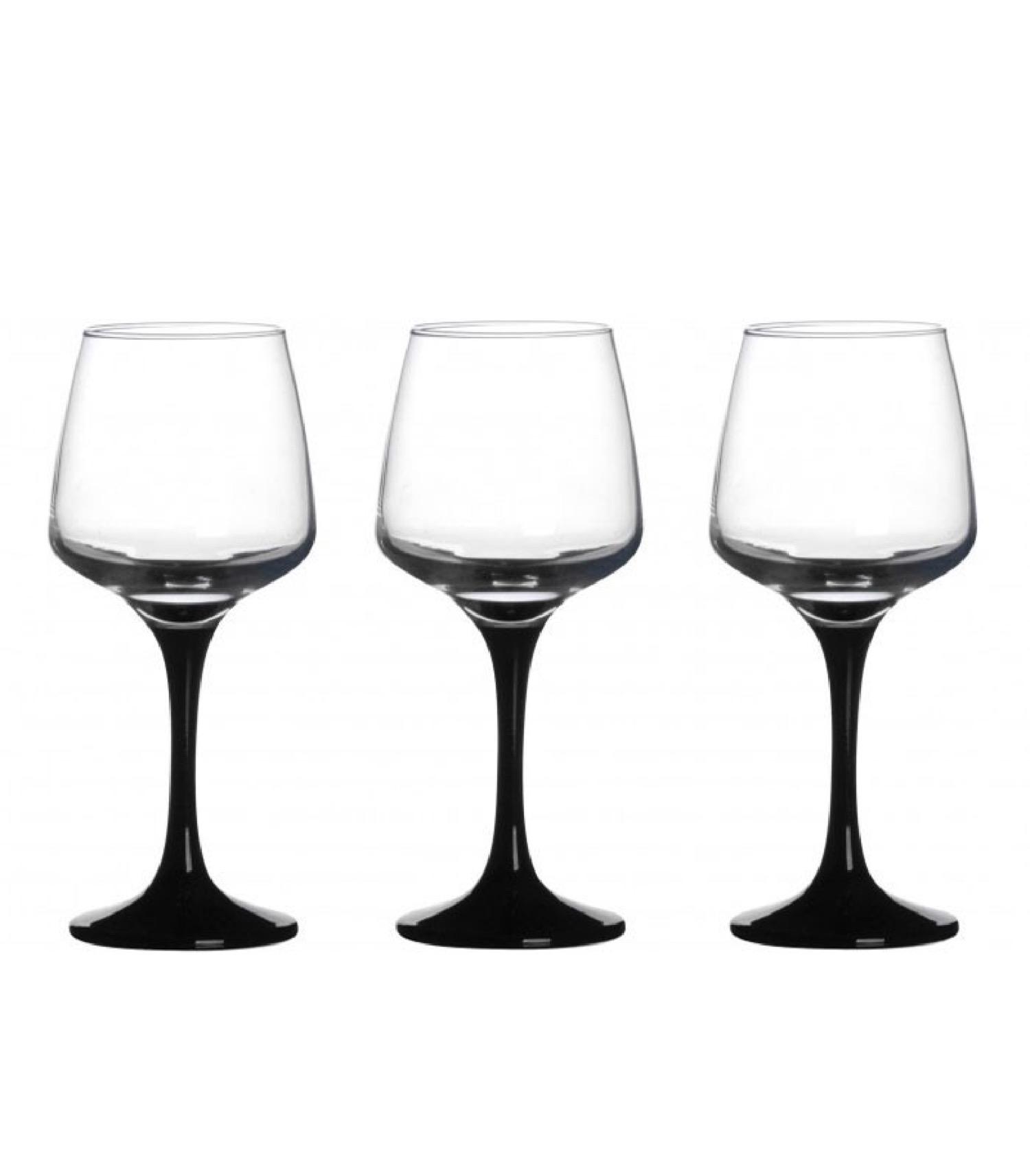 Verre à vin sur pied noir opaque 29,5cl - Lot de 3