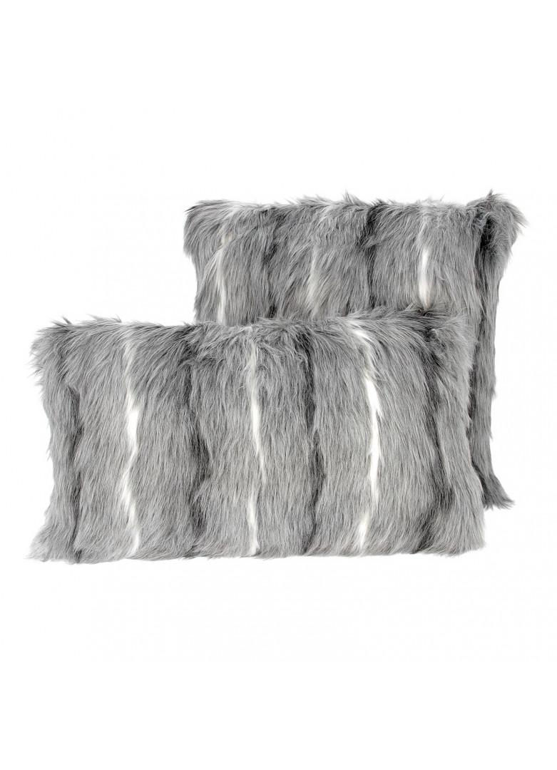 Set 2 coussins fourrure gris blanc 45x45 et 30x50cm