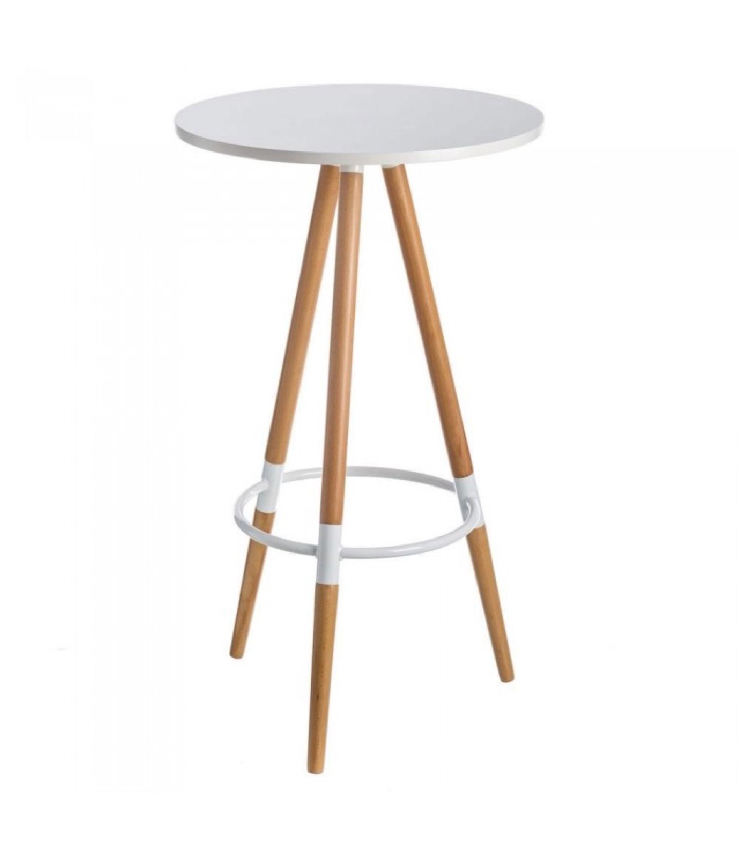 Table haute de bar ronde bois et métal blanc