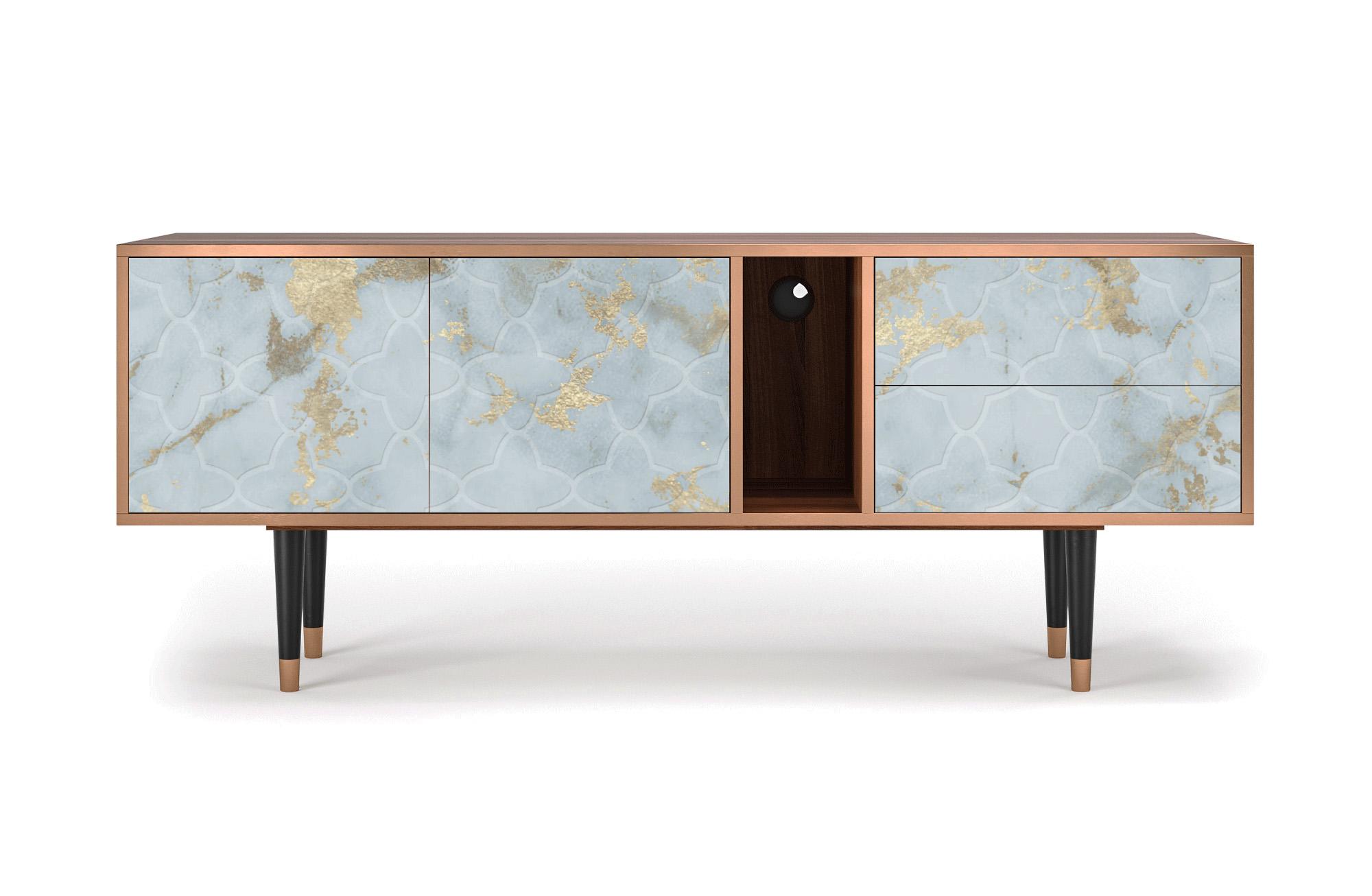 maison du monde Meuble TV blanc clair 170cm 2 tiroirs et 2 portes