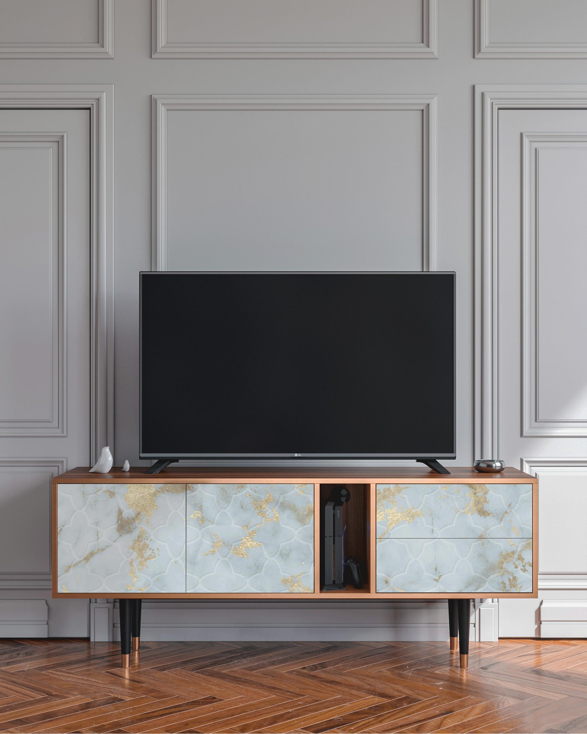 Meuble TV blanc clair 170cm 2 tiroirs et 2 portes