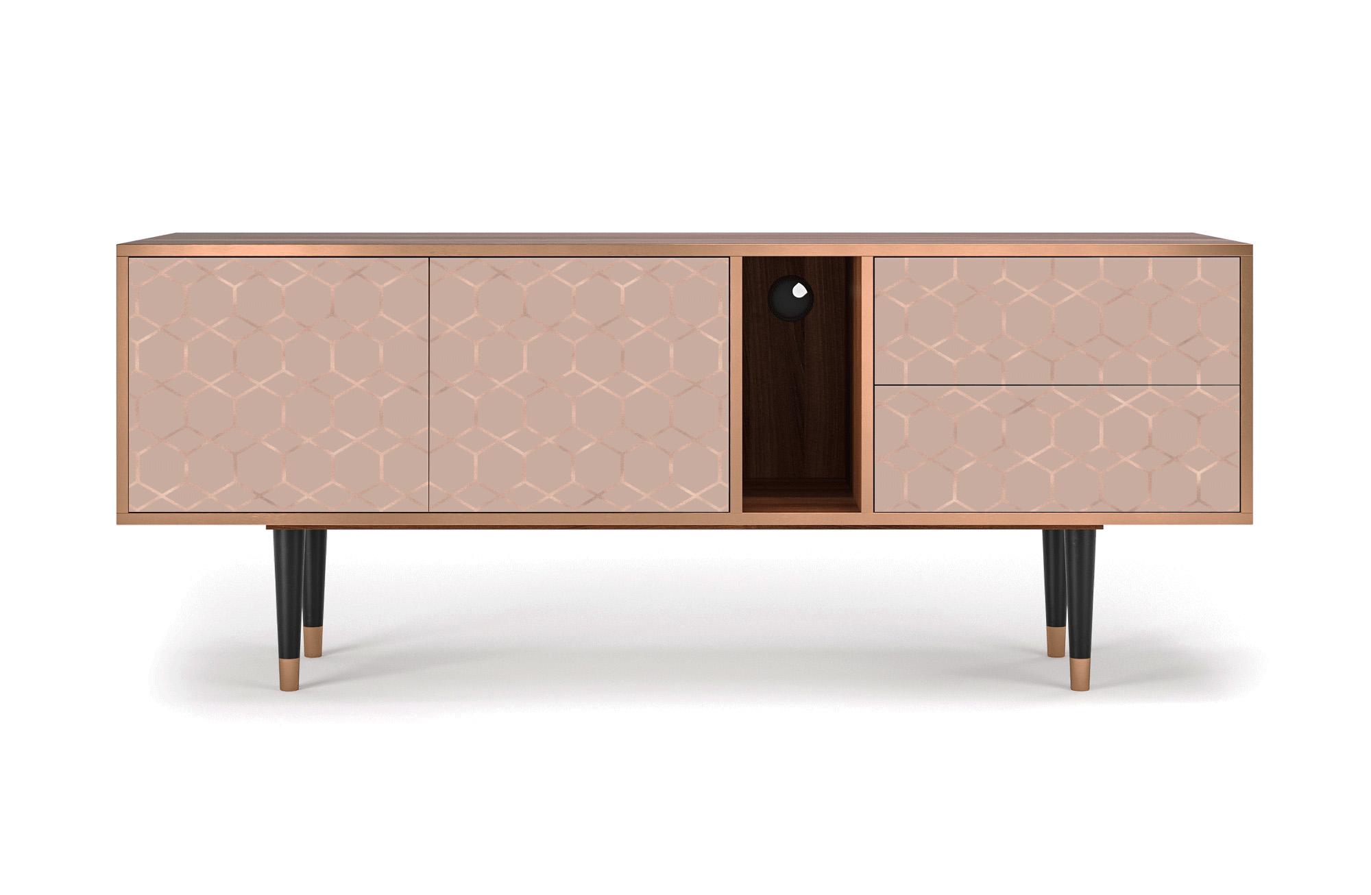 maison du monde Meuble TV rose 170cm 2 tiroirs et 2 portes