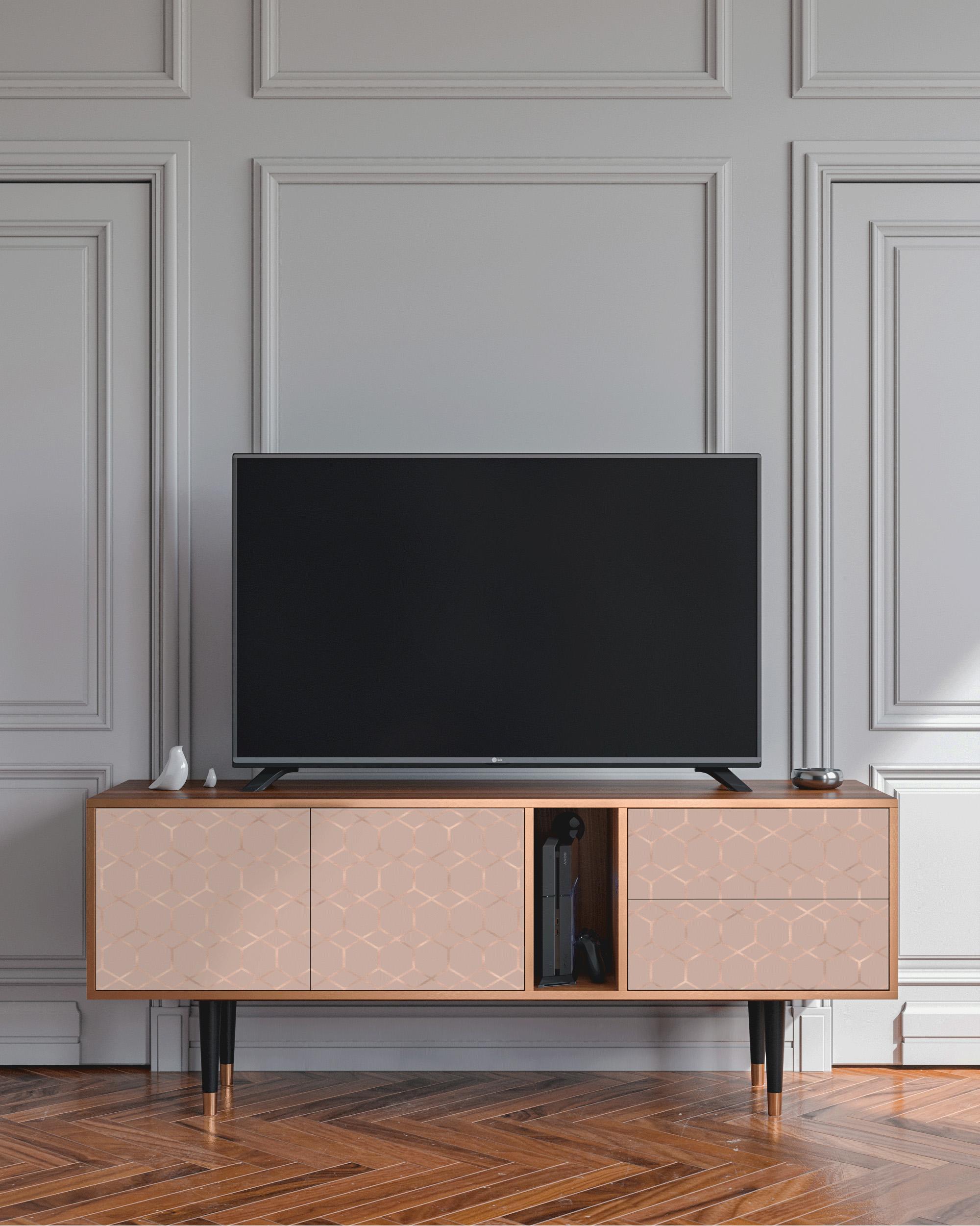 Meuble TV Rosé poudré 170cm 2 tiroirs et 2 portes
