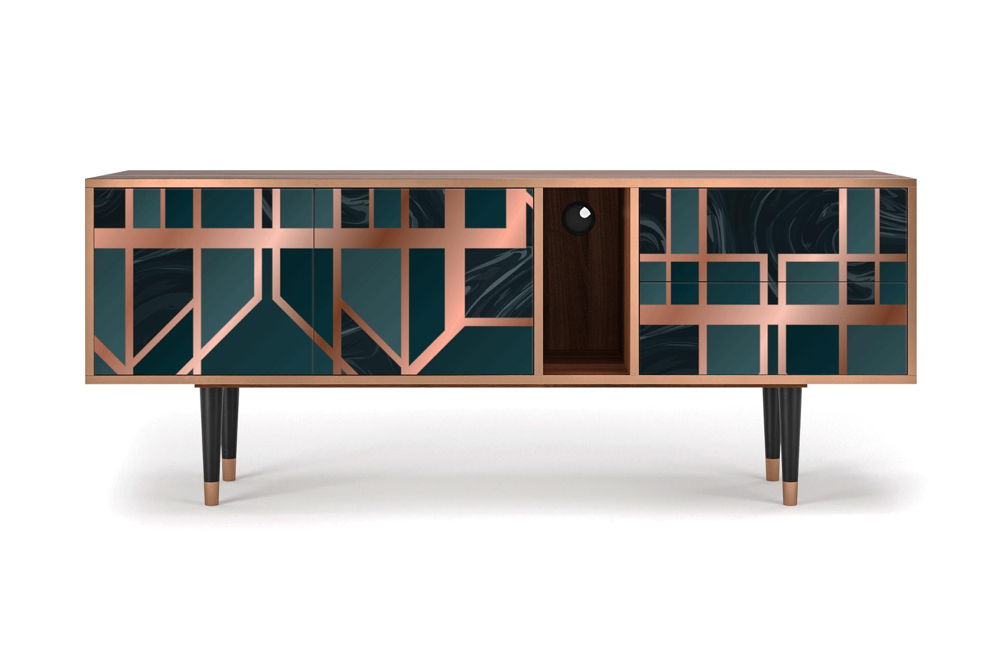 maison du monde Meuble TV bleu et doré 170cm 2 tiroirs et 2 portes