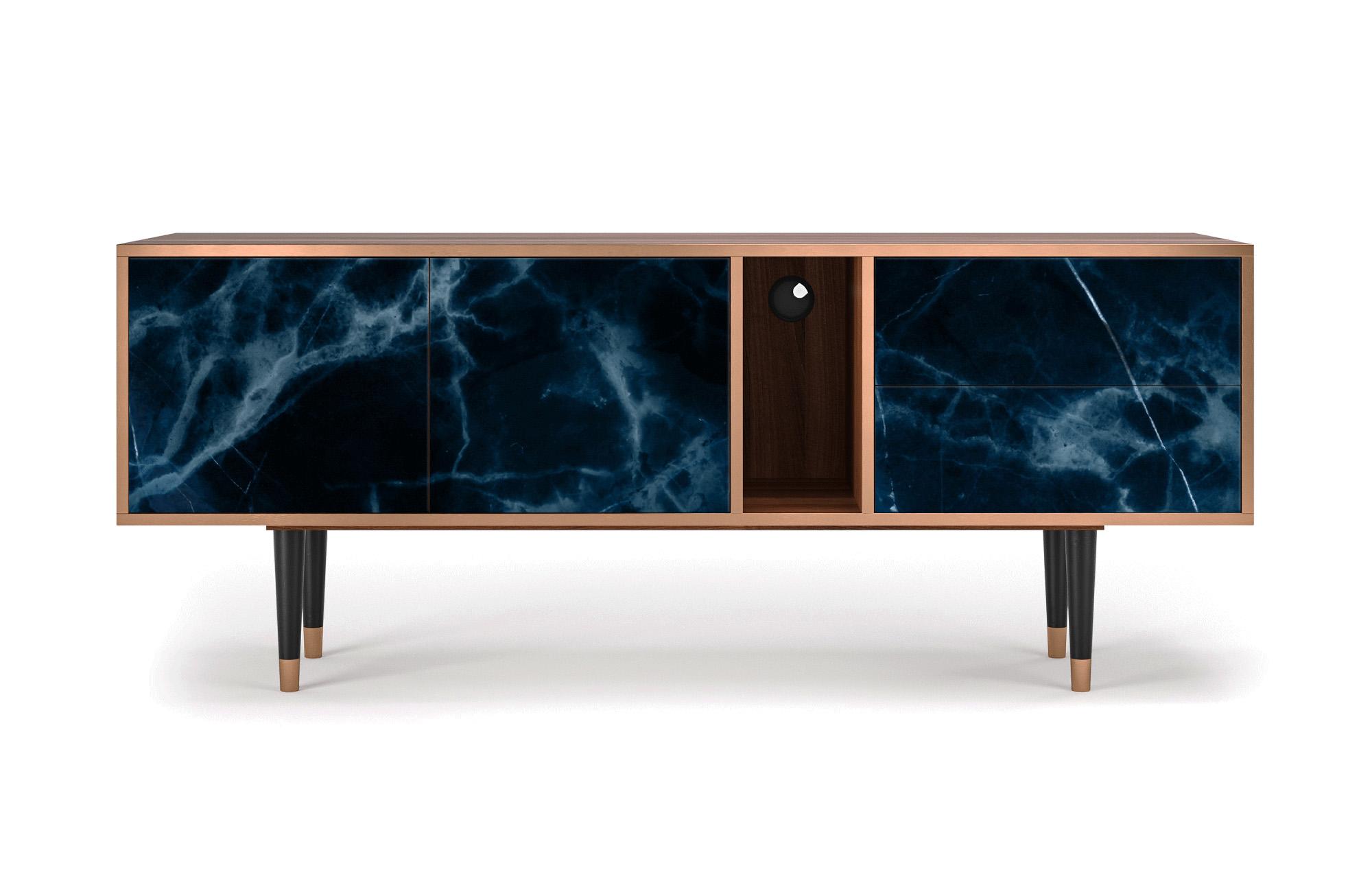 Meuble TV bleu foncé 170cm 2 tiroirs et 2 portes