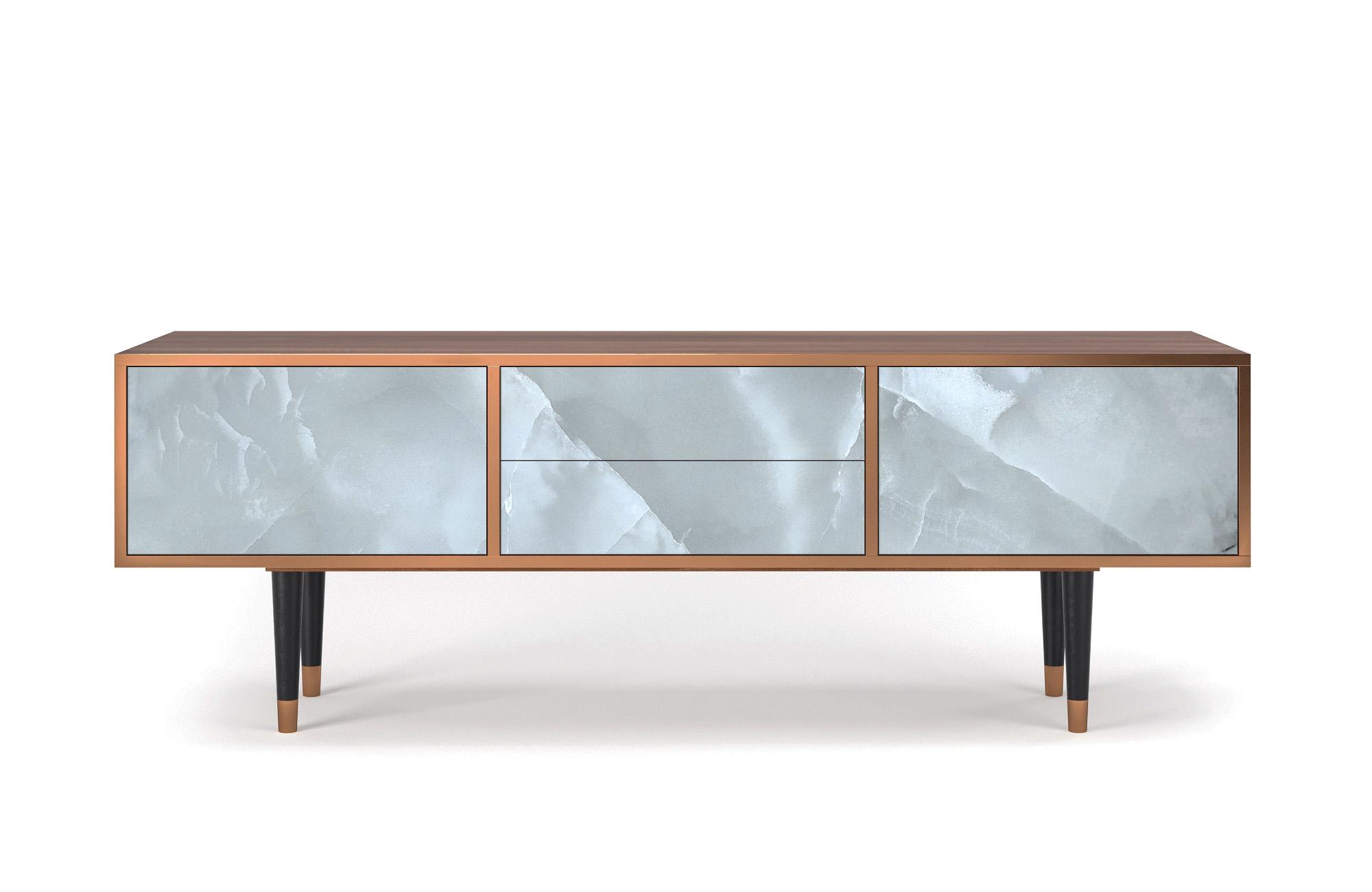 Meuble TV gris clair 170cm 2 tiroirs et 2 portes