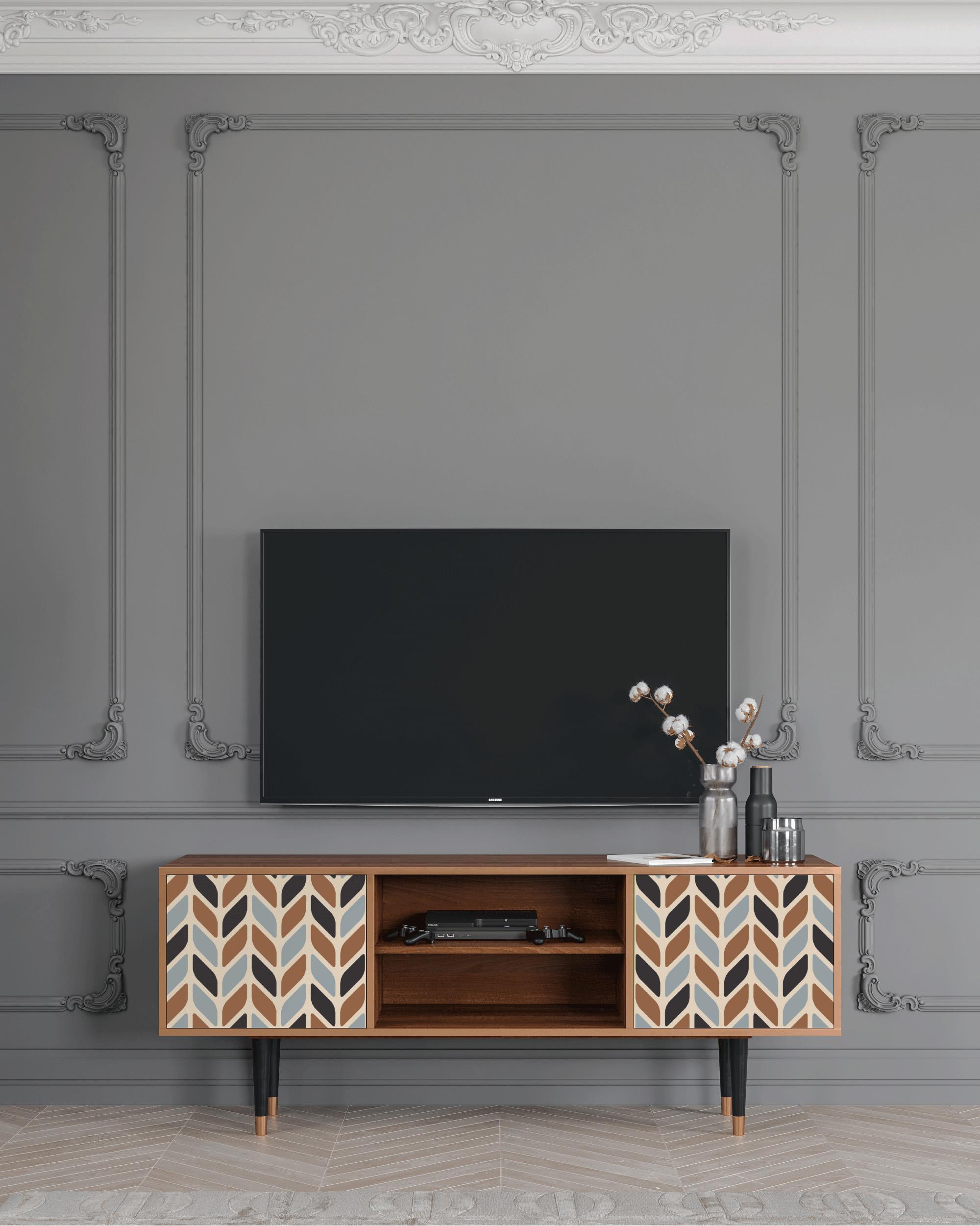 Meuble TV beige 170cm 2 portes