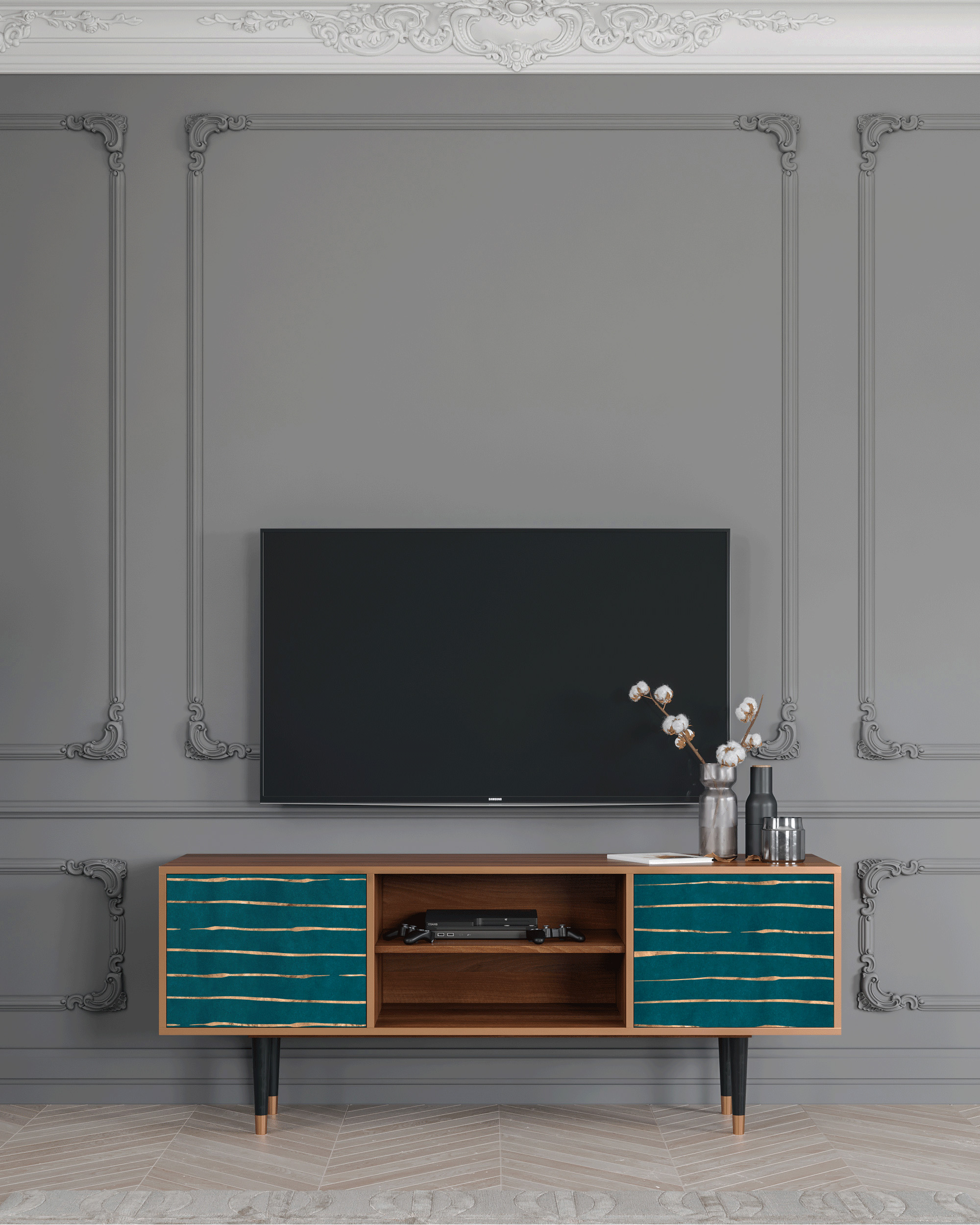 Meuble TV bleu 170cm 2 portes