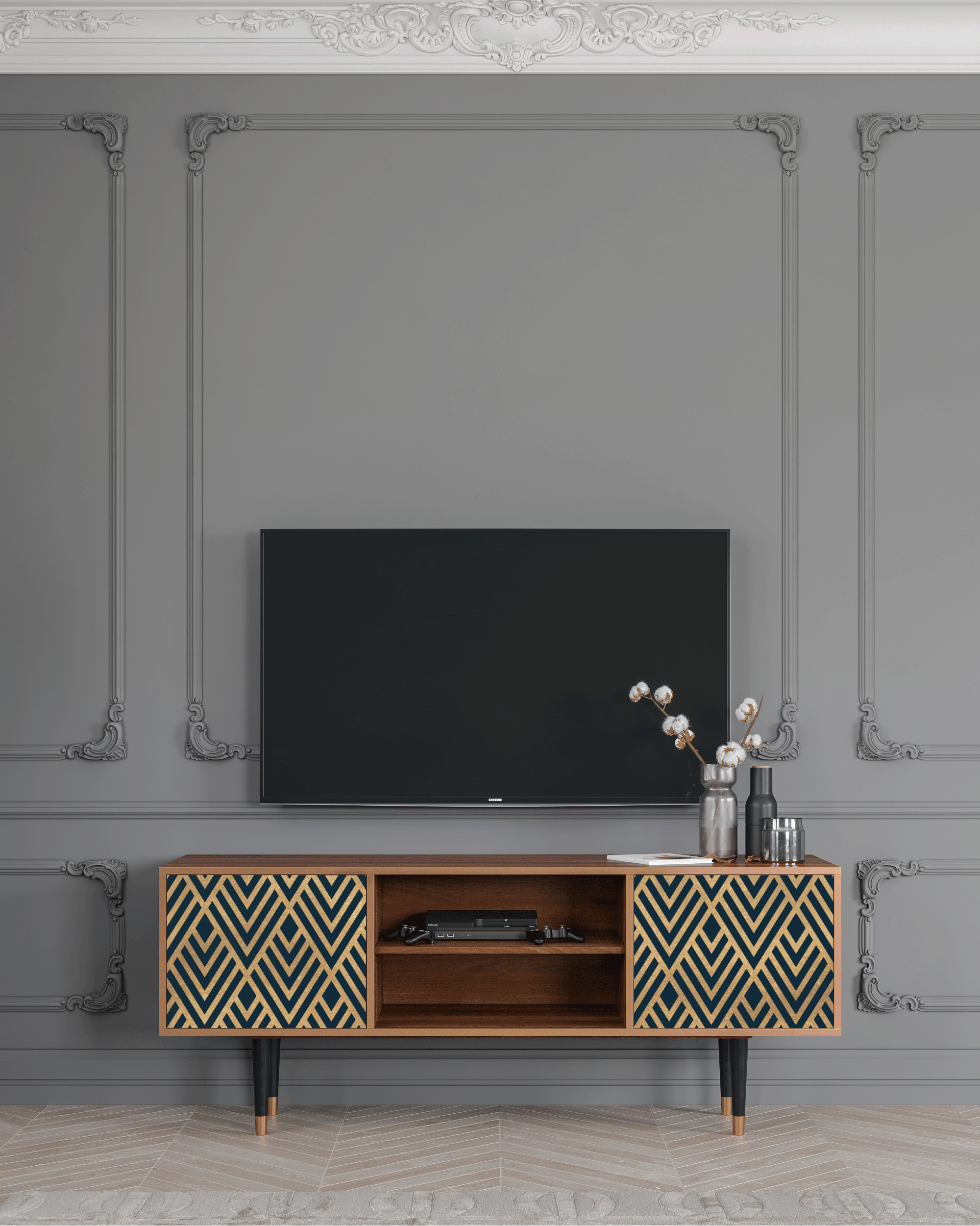 Meuble TV bleu et doré 170cm 2 portes