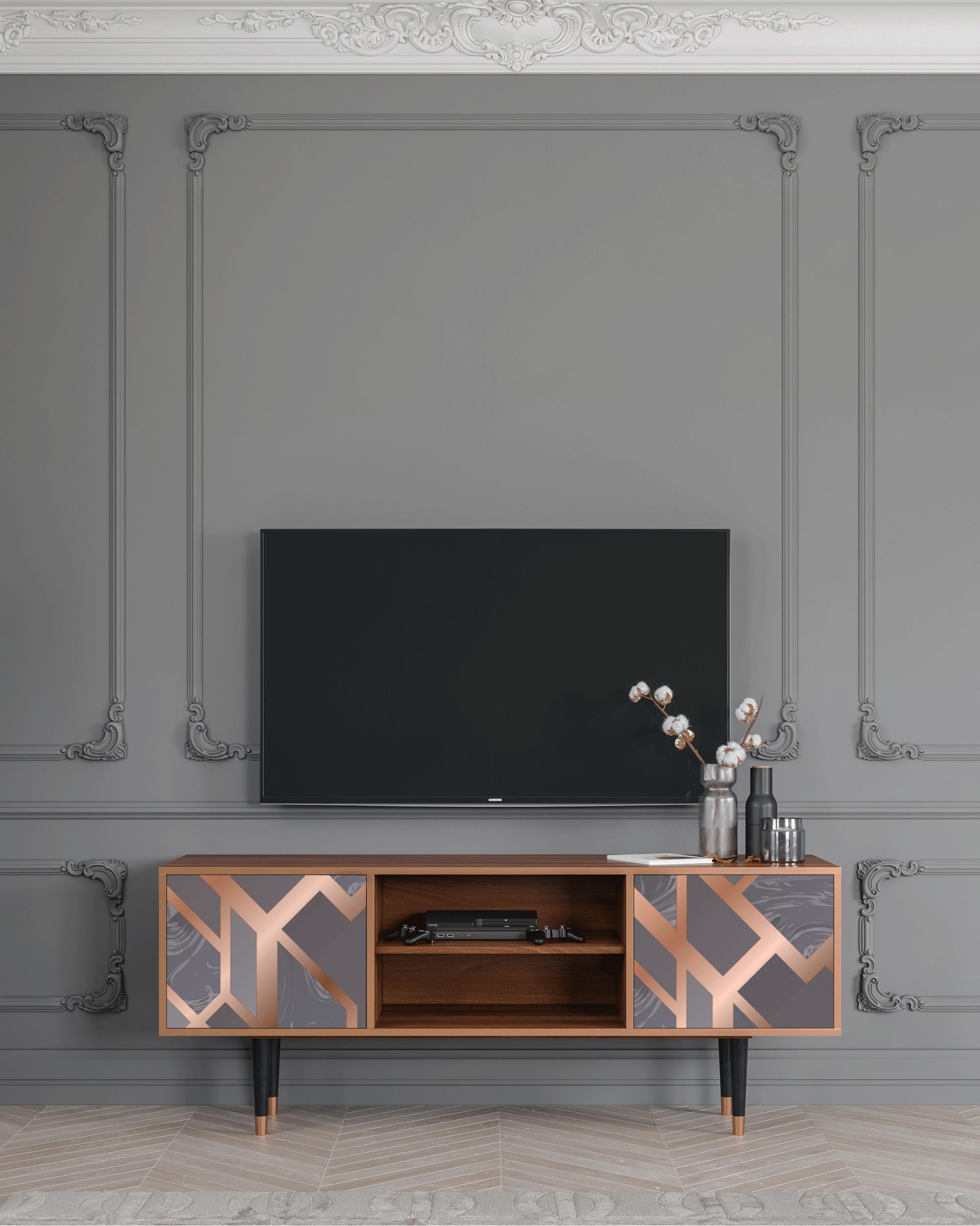 Meuble TV taupe 170cm 2 portes