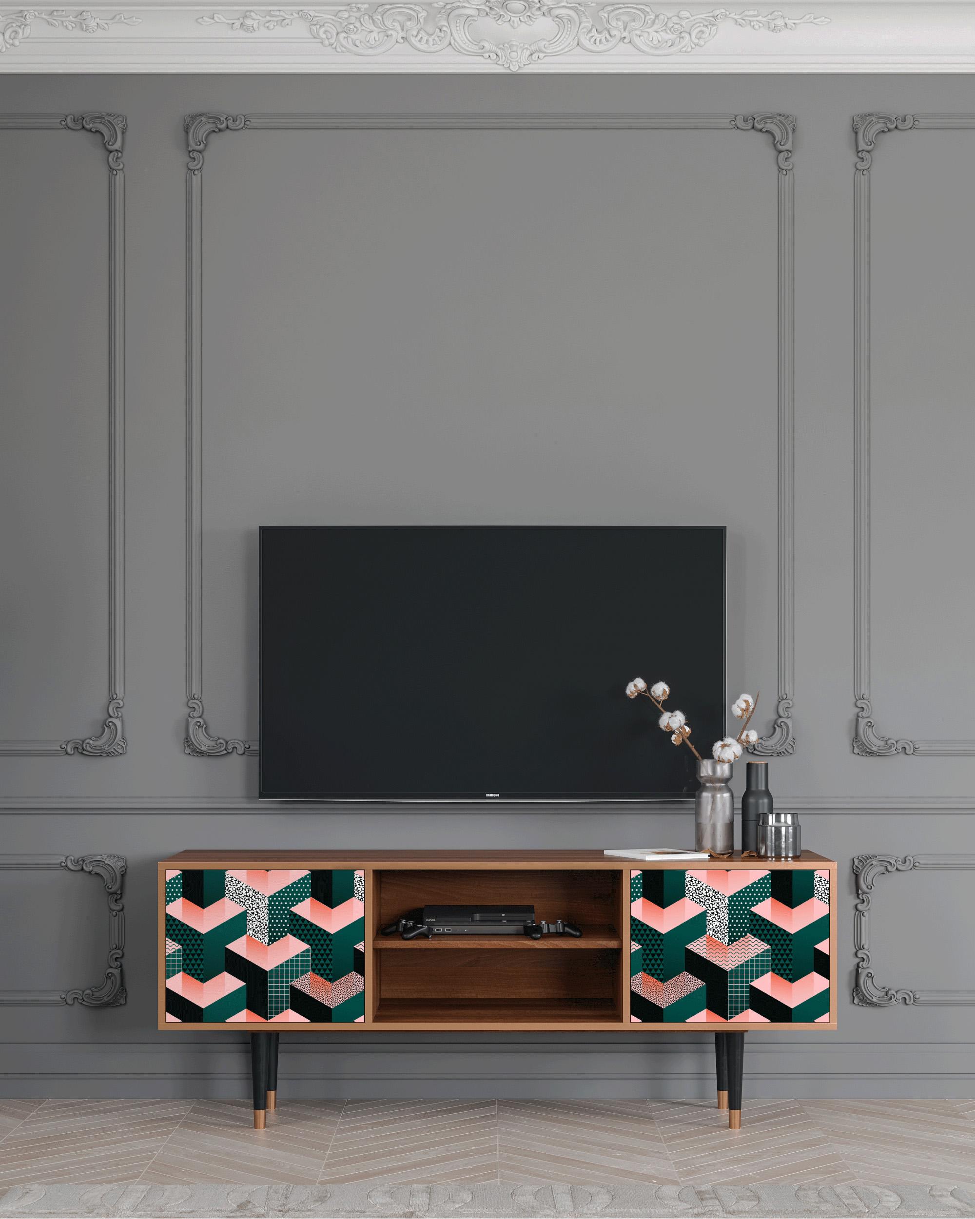 Meuble TV vert et rose 170cm 2 portes