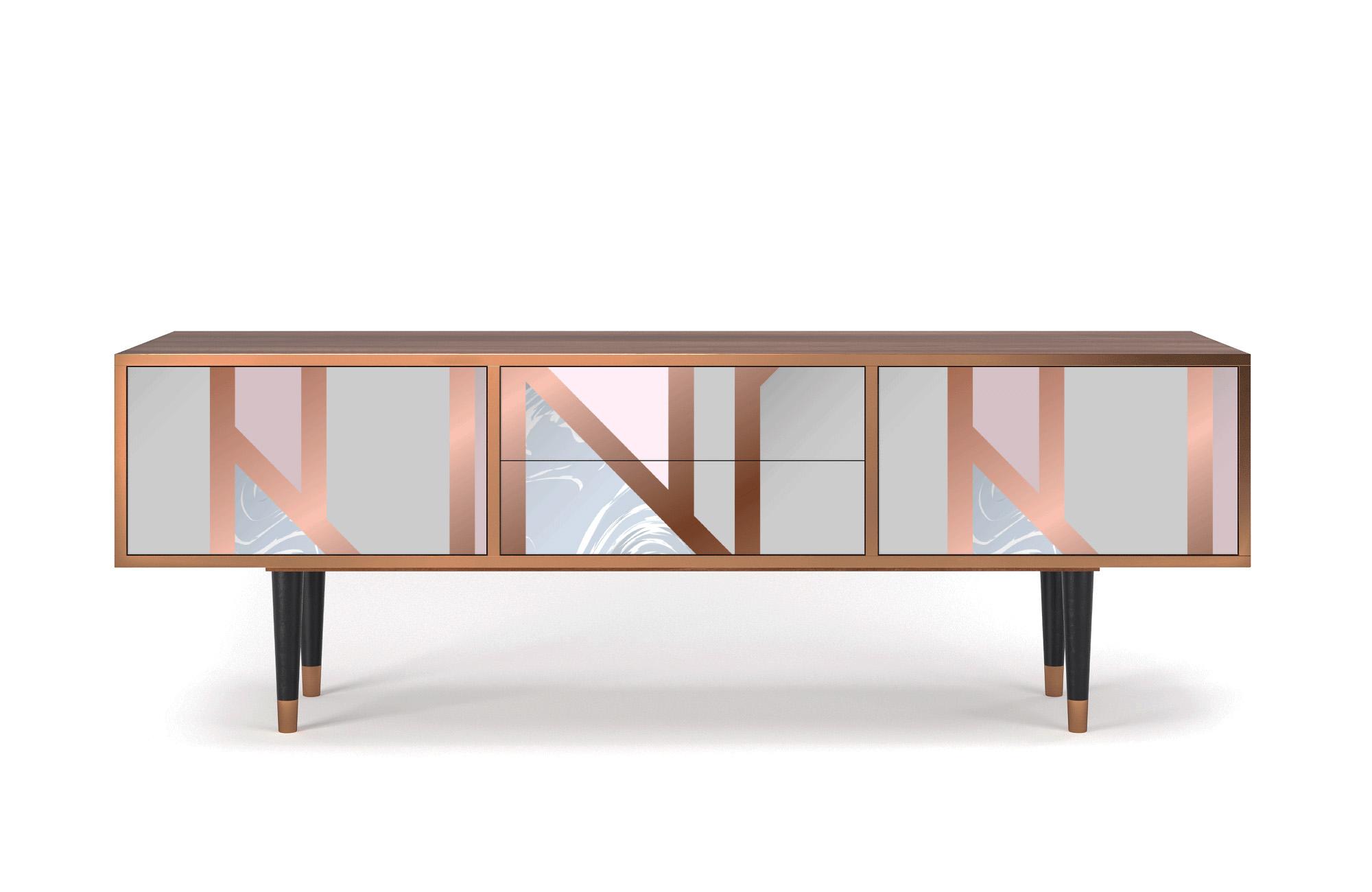 maison du monde Meuble TV rose et doré 170cm 2 tiroirs et 2 portes
