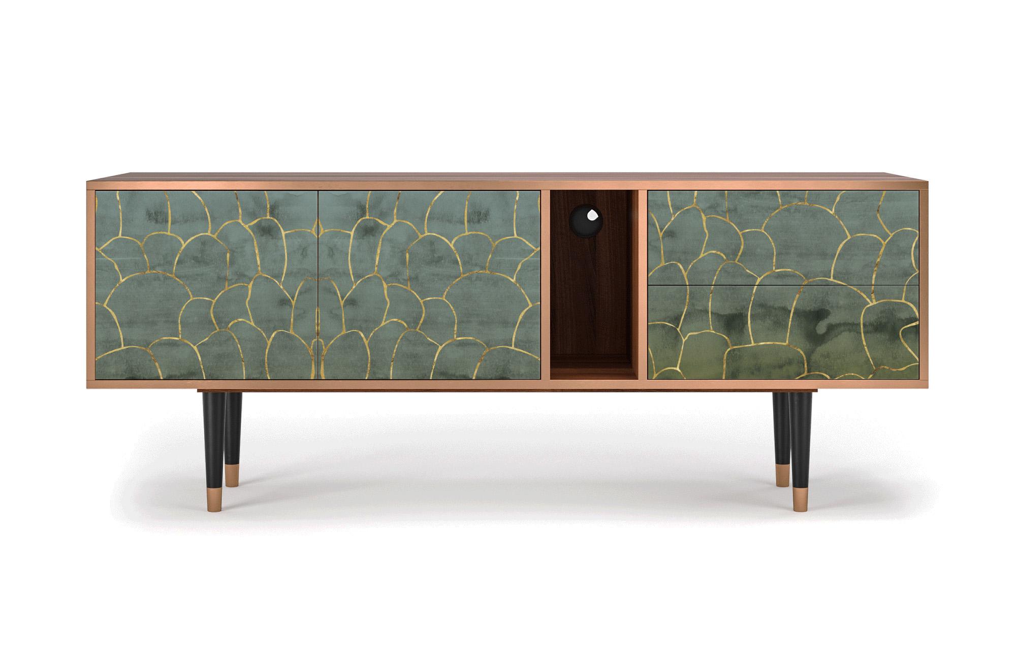 maison du monde Meuble TV vert et doré 170cm 2 tiroirs et 2 portes