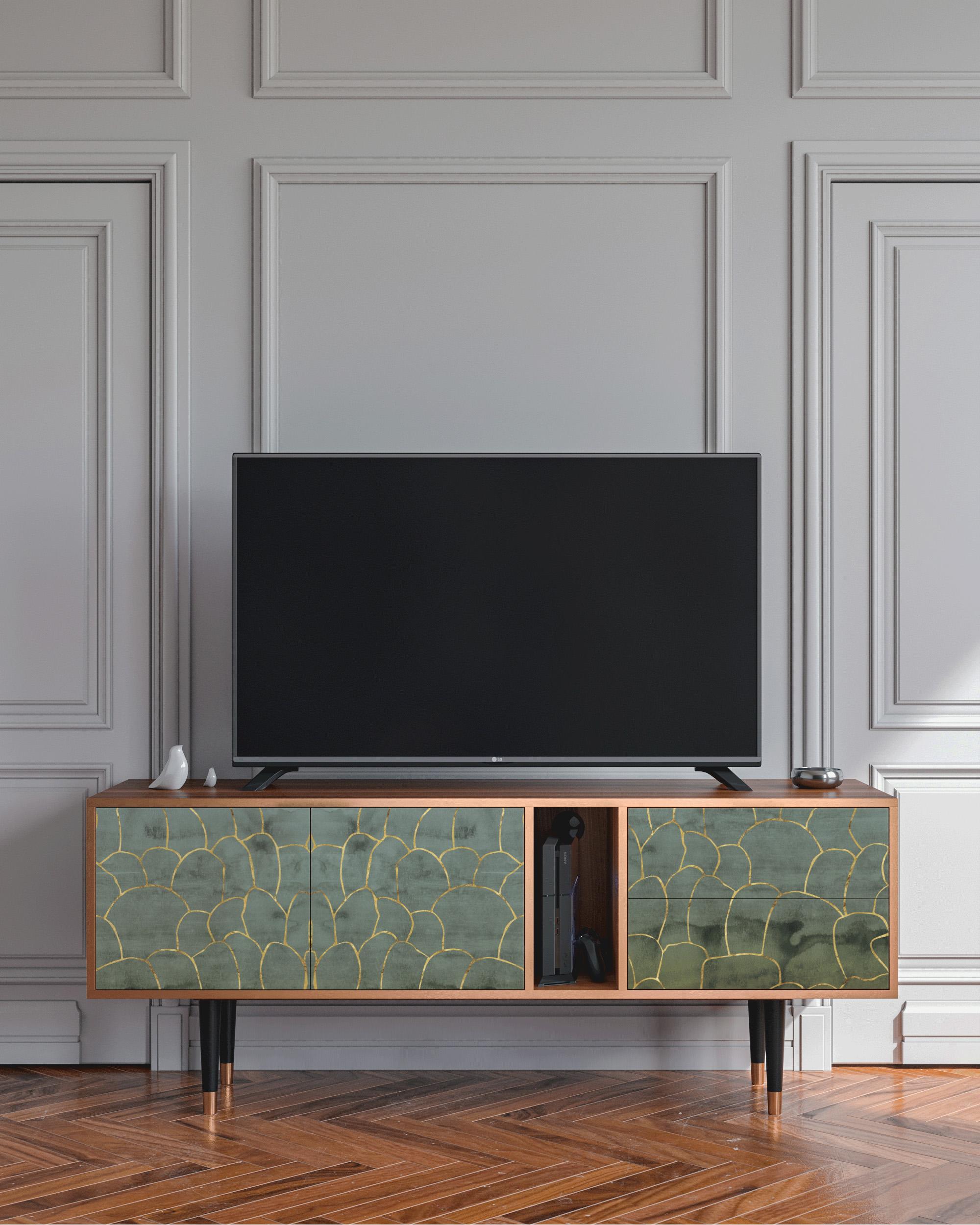 Meuble TV vert et doré 170cm 2 tiroirs et 2 portes