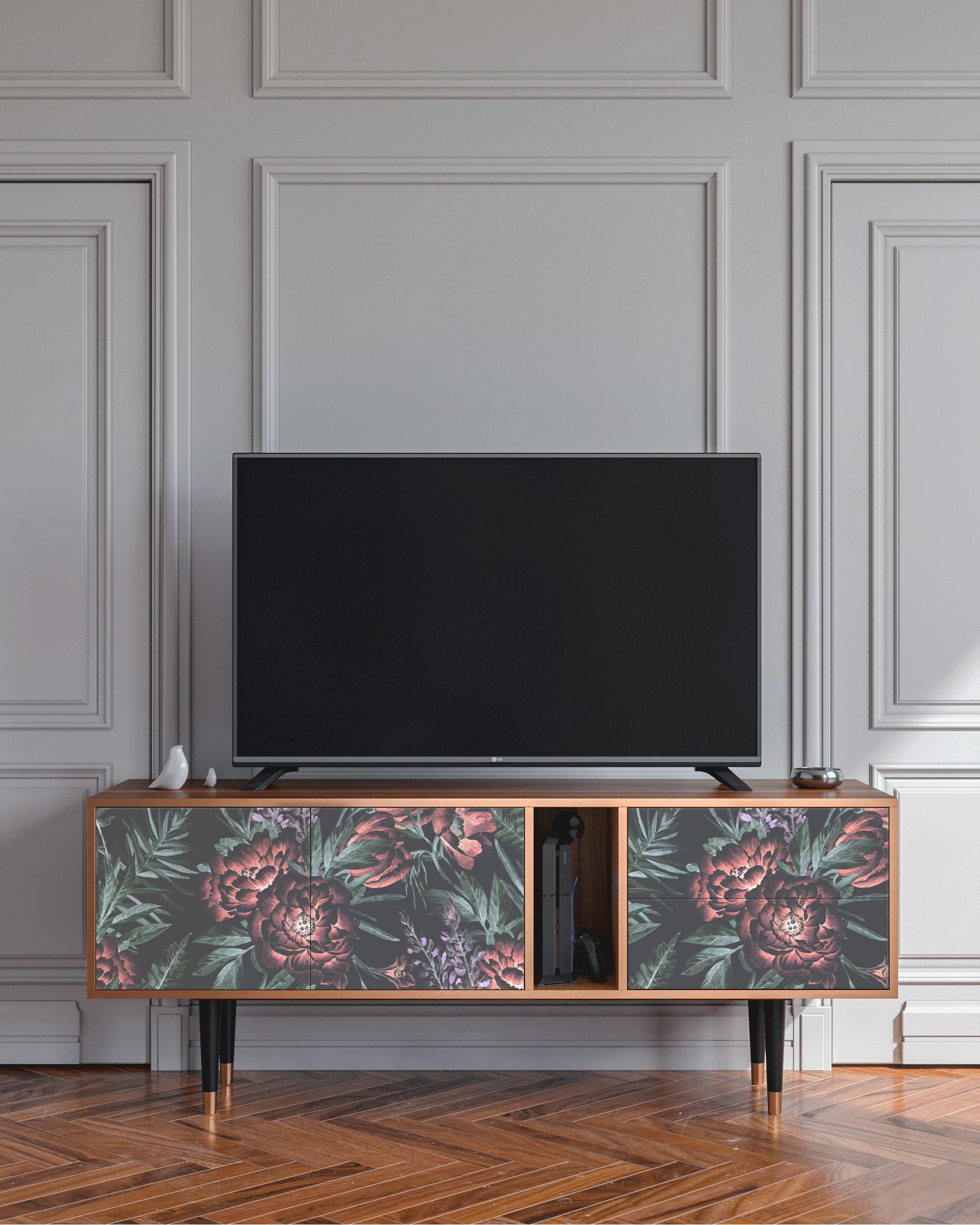 Meuble TV vert 170cm 2 tiroirs et 2 portes