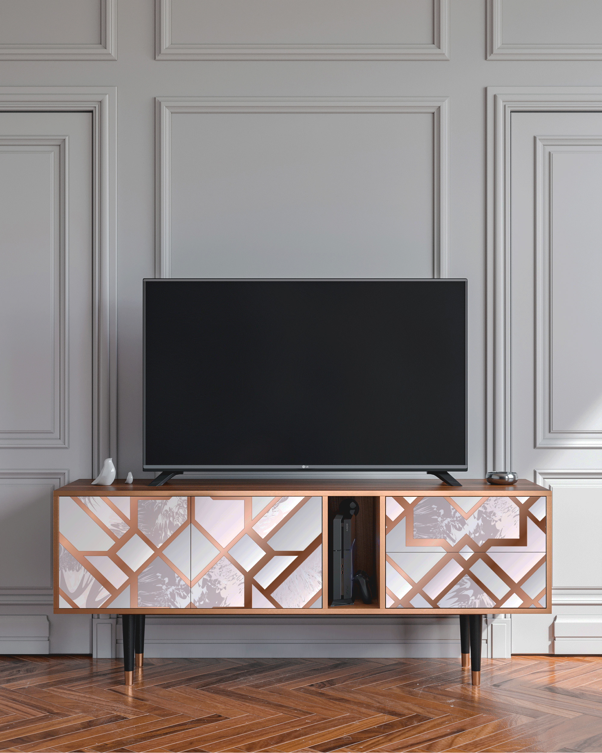 Meuble TV rose clair 170cm 2 tiroirs et 2 portes