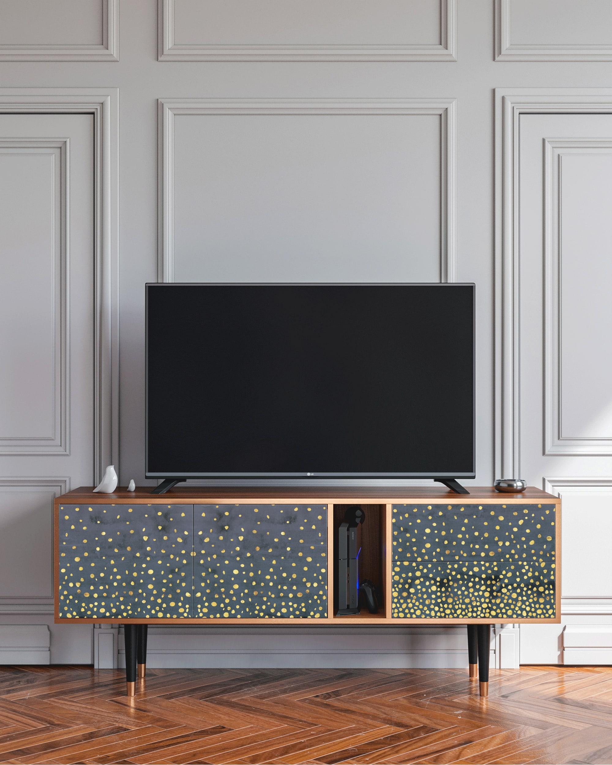 Meuble TV bleu et jaune 170cm 2 tiroirs et 2 portes