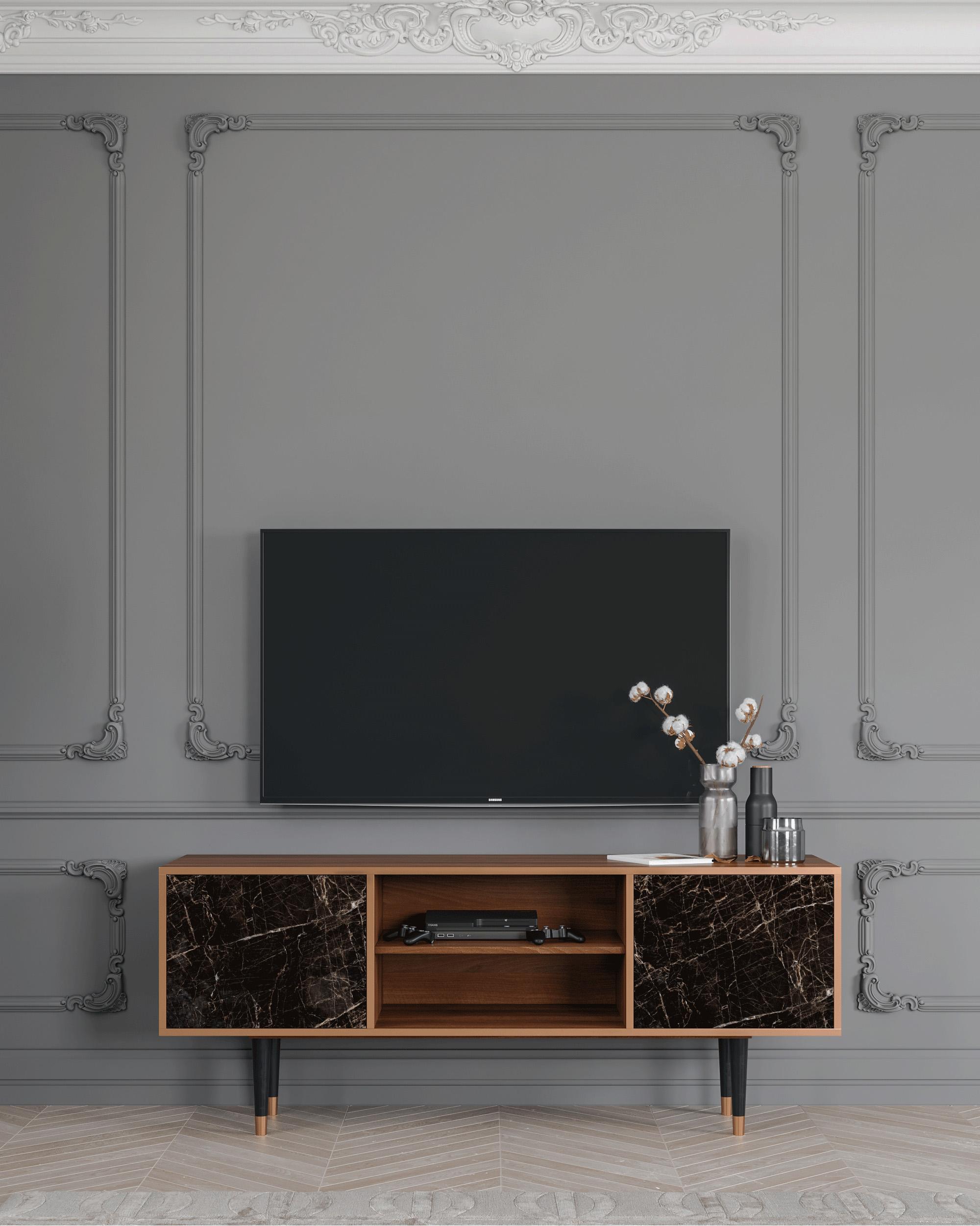 Meuble TV noir 170cm 2 portes