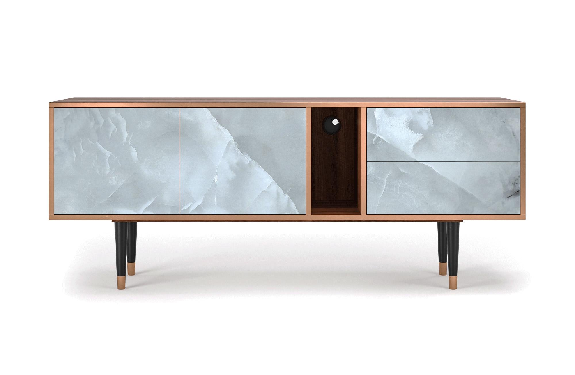 maison du monde Meuble TV gris clair 170cm 2 tiroirs et 2 portes