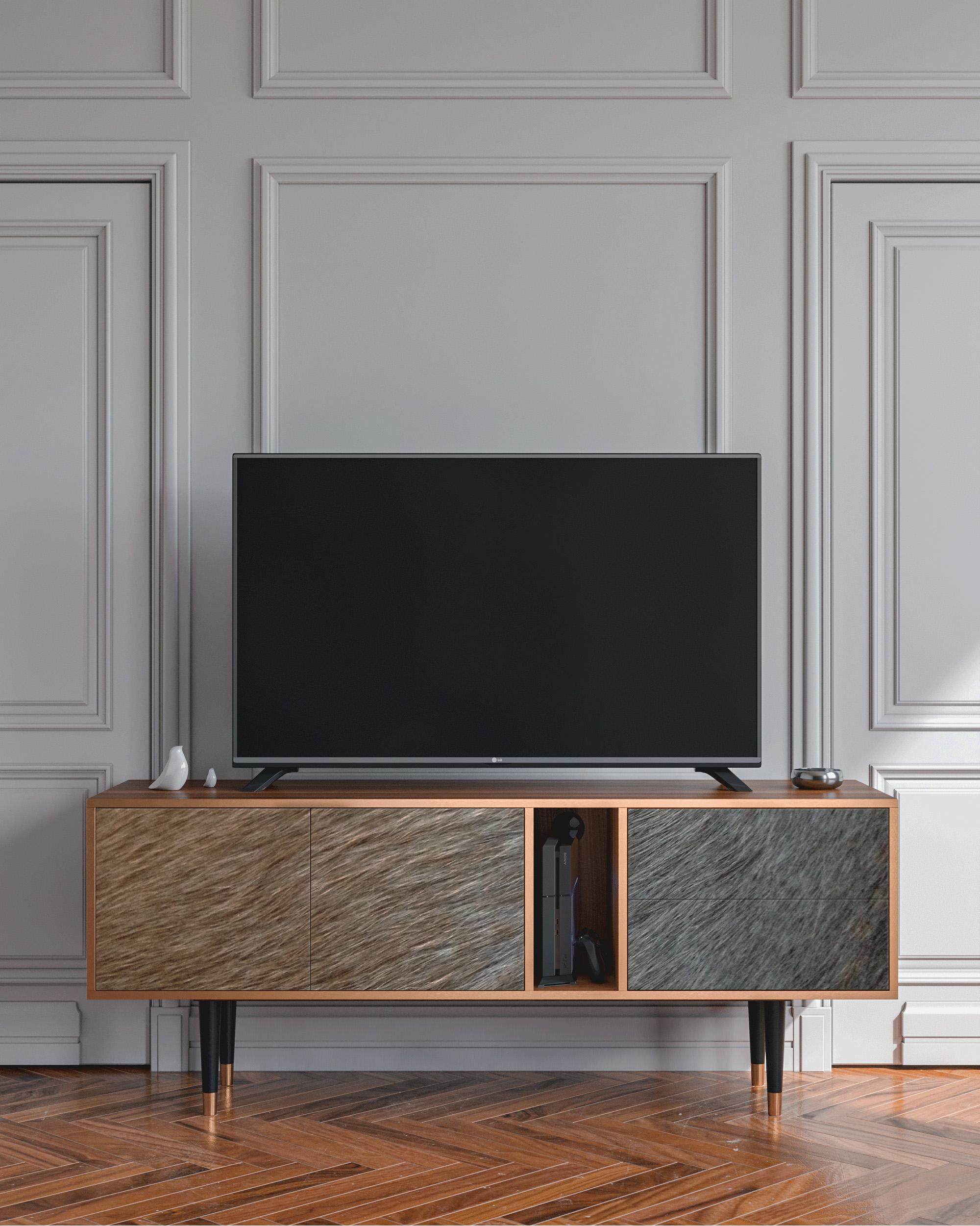 Meuble TV marron 170cm 2 tiroirs et 2 portes