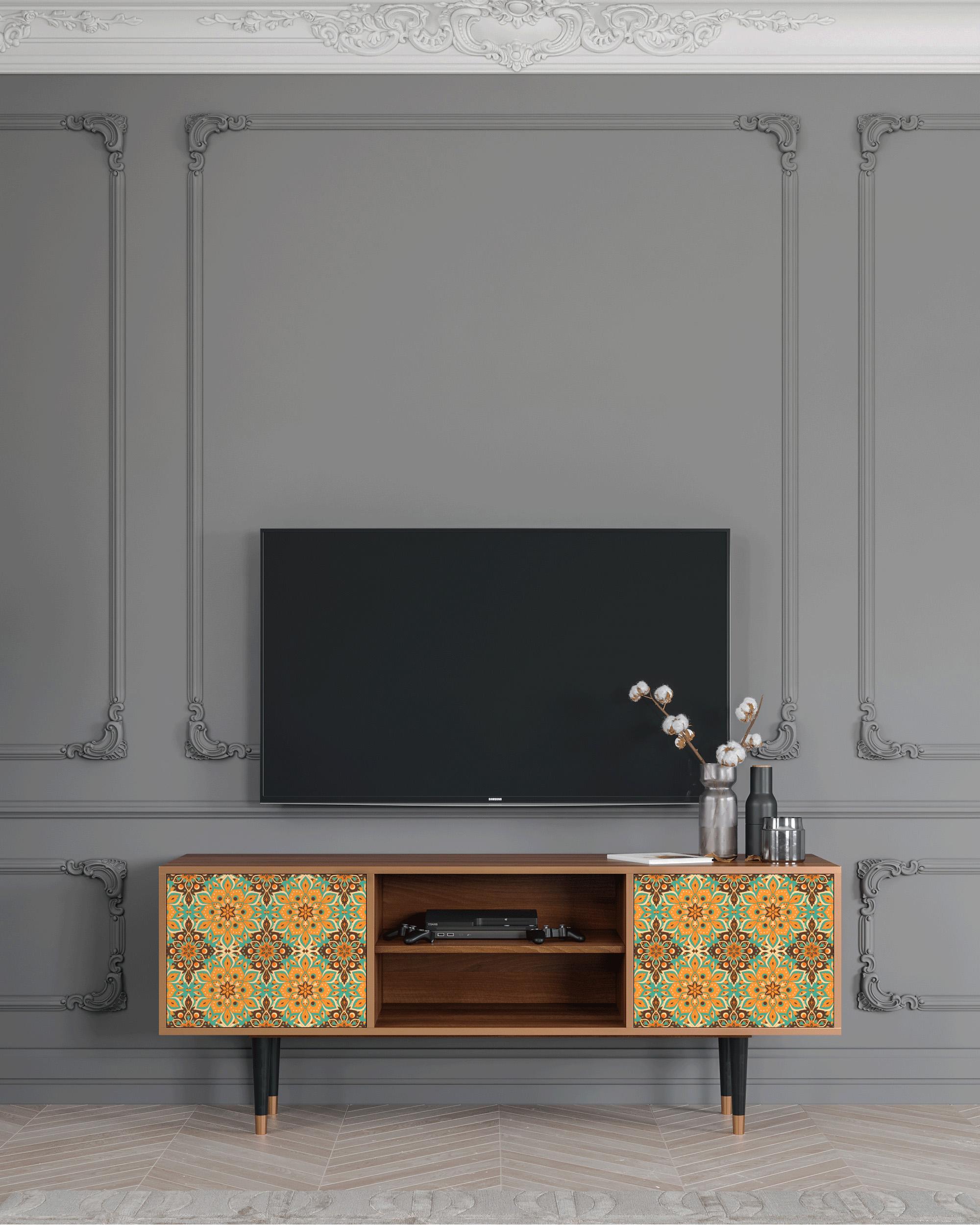 Meuble TV jaune 170cm 2 portes