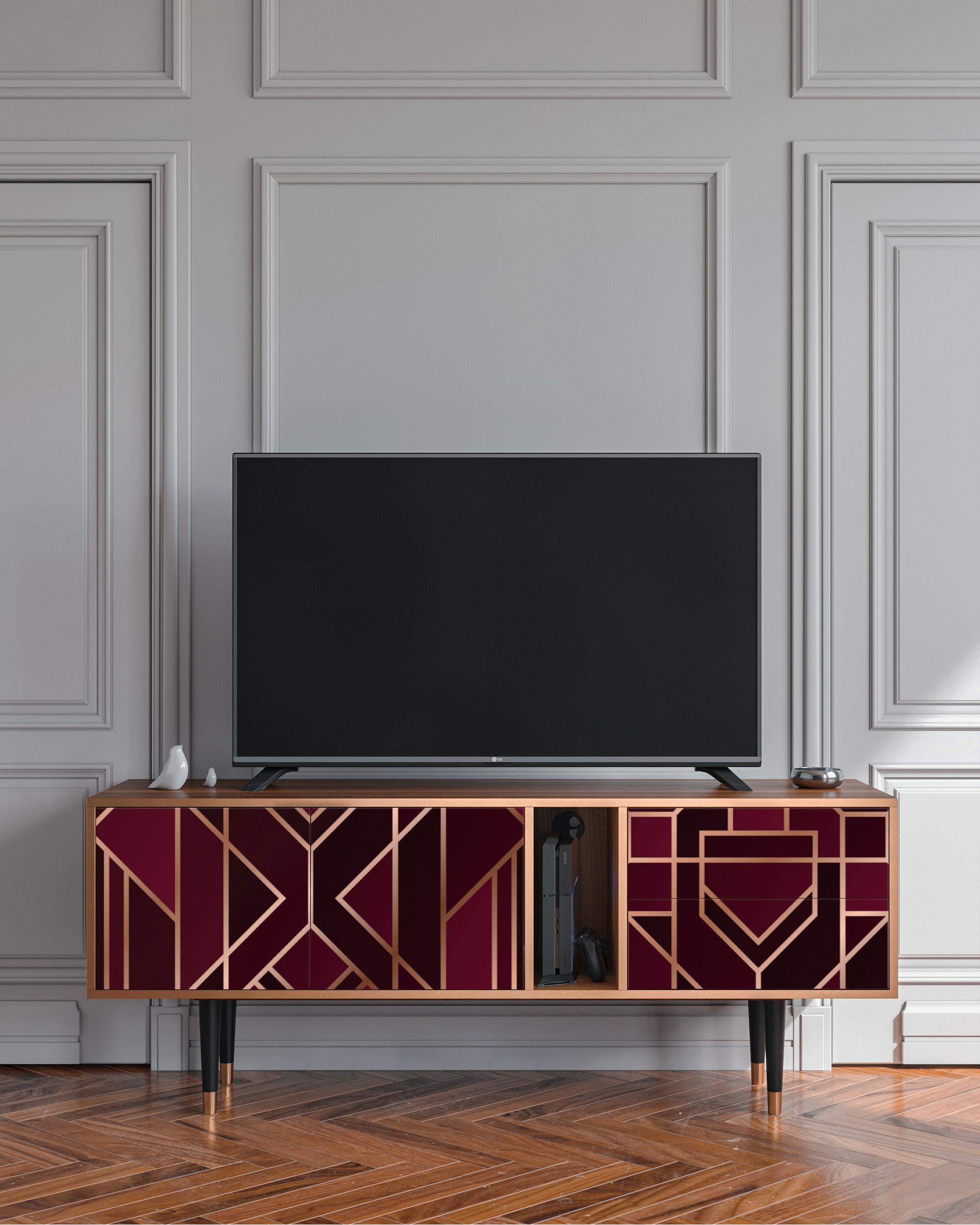 Meuble TV bordeaux 170cm 2 tiroirs et 2 portes