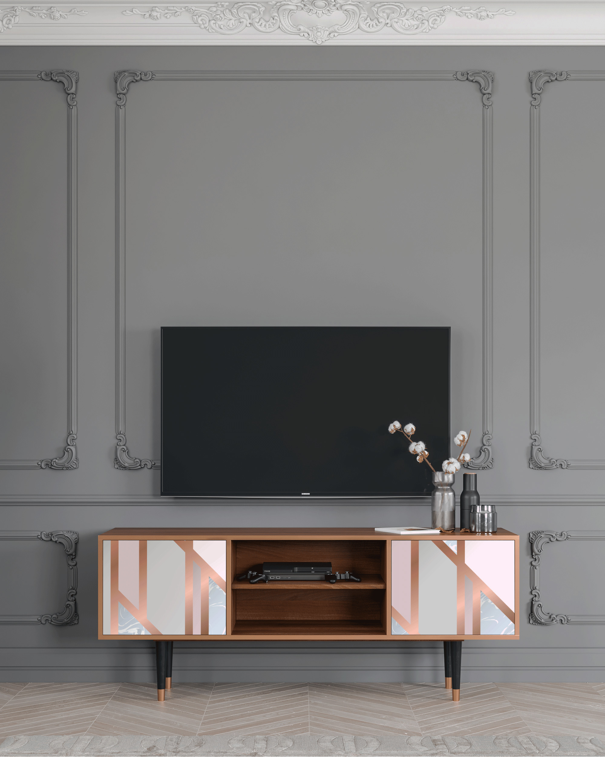 Meuble TV rose clair 170cm 2 portes